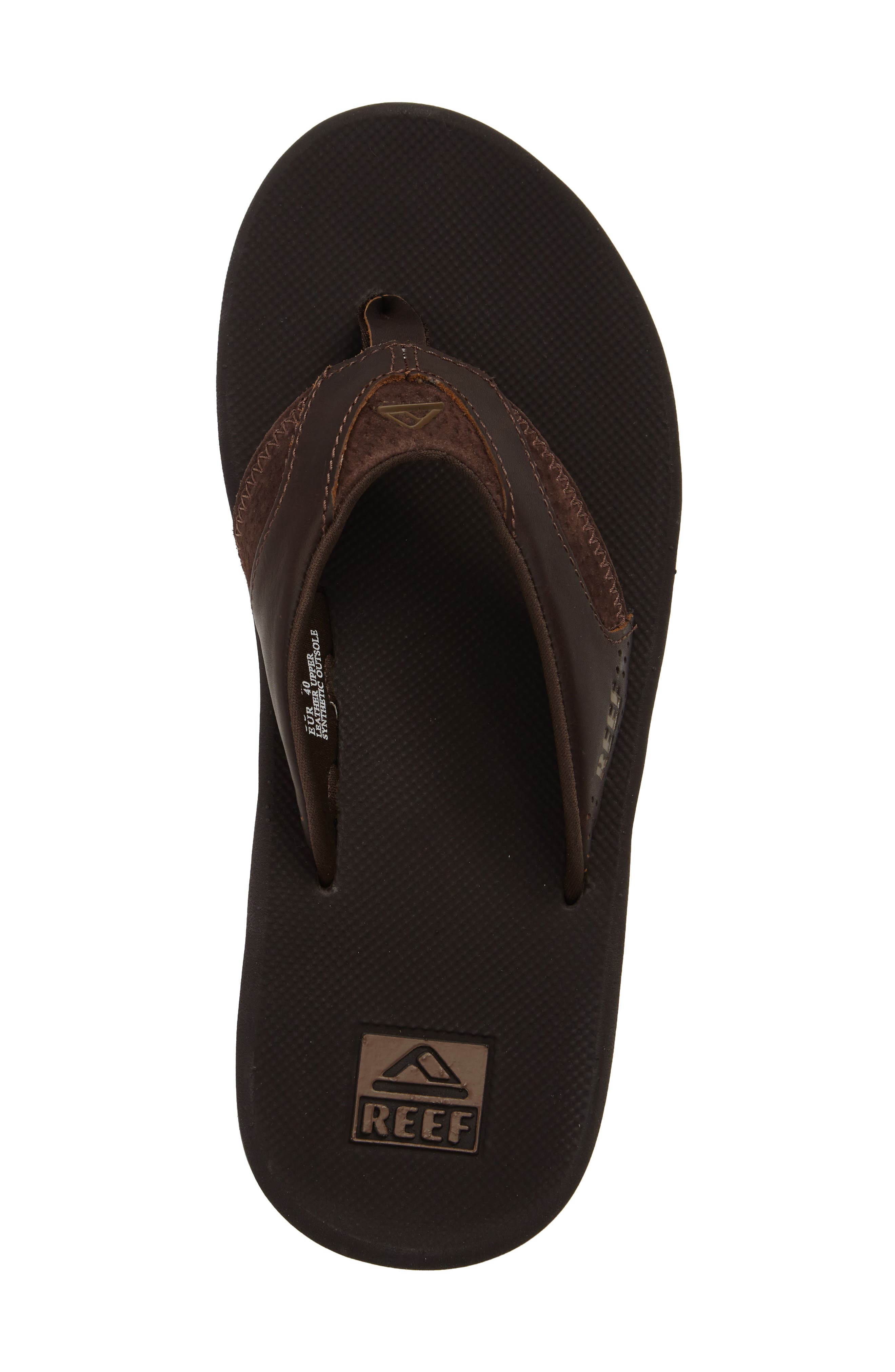 REEF, 'Fanning Leather' Flip Flop, Alternate thumbnail 5, color, BROWN LEATHER