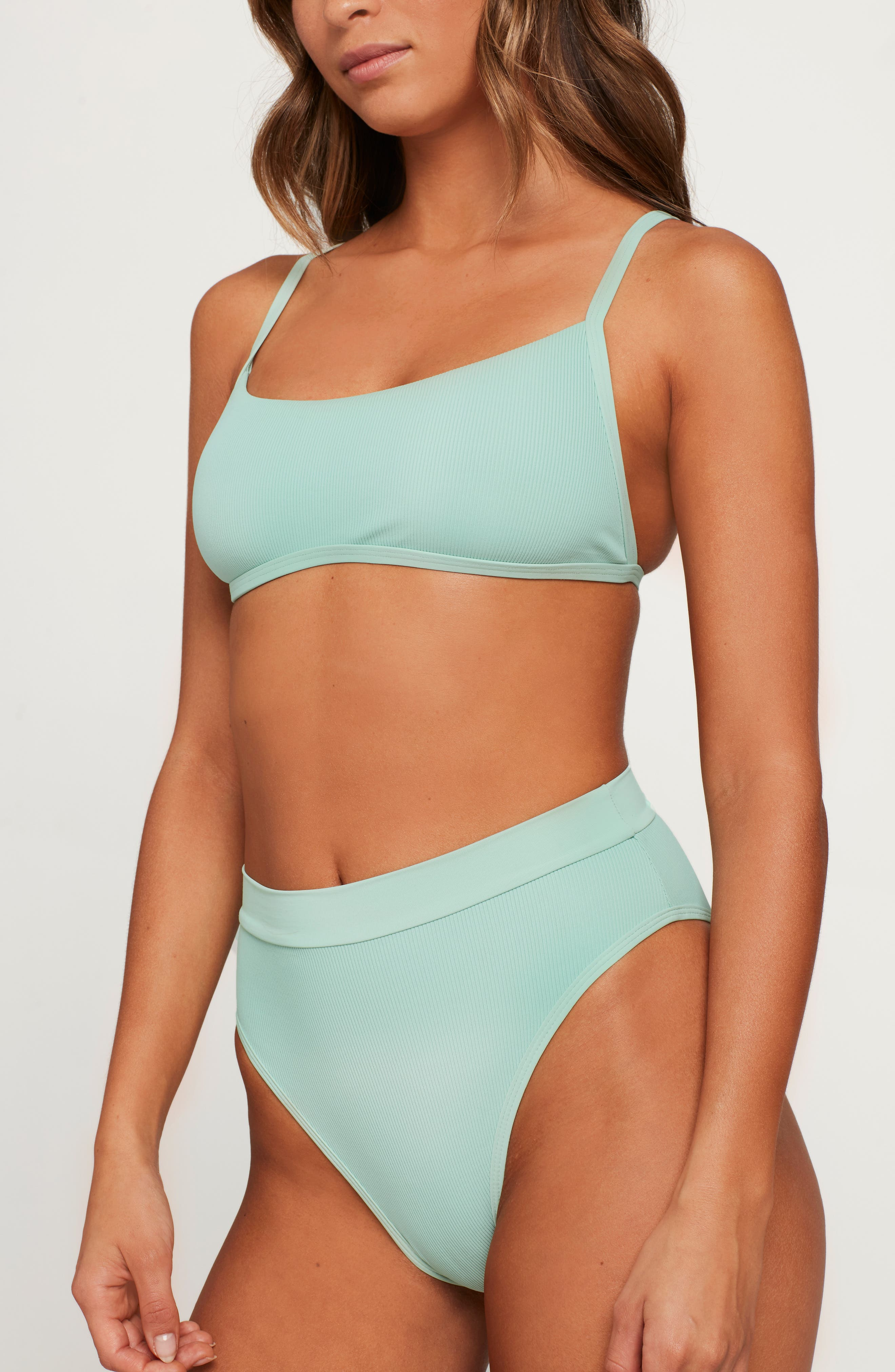 L SPACE, French Cut High Waist Textured Swim Bottoms, Alternate thumbnail 7, color, HIGH TIDE