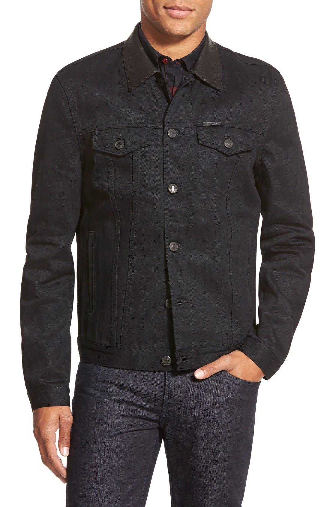 BURBERRY Brit 'Skipper' Trim Fit Denim Jacket with Leather Collar, Main, color, 001