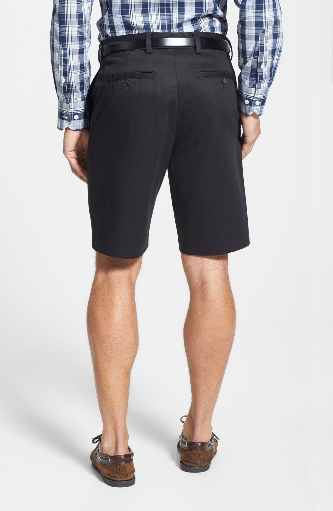 NORDSTROM MEN'S SHOP, Smartcare<sup>™</sup> Flat Front Shorts, Alternate thumbnail 7, color, BLACK