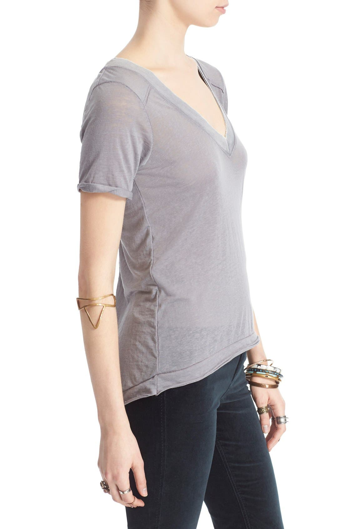 FREE PEOPLE, 'Pearls' Raw Edge V-Neck Tee, Alternate thumbnail 4, color, 030