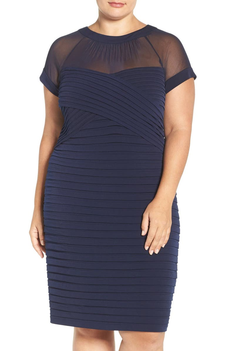 London Times Shutter Pleat Sheath Dress Main Color 410