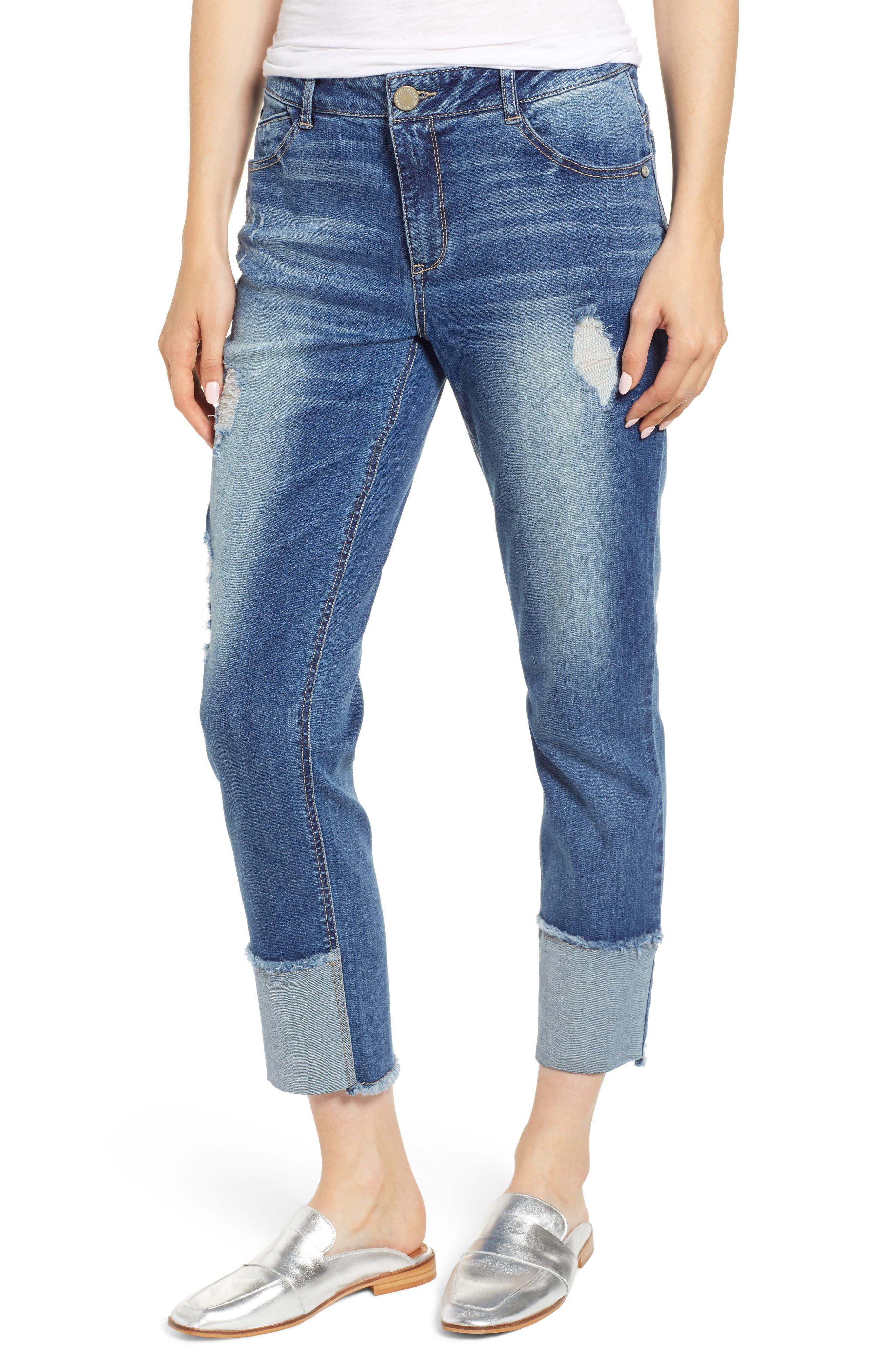 WIT & WISDOM, Flex-ellent Distressed Straight Leg Jeans, Main thumbnail 1, color, BLUE