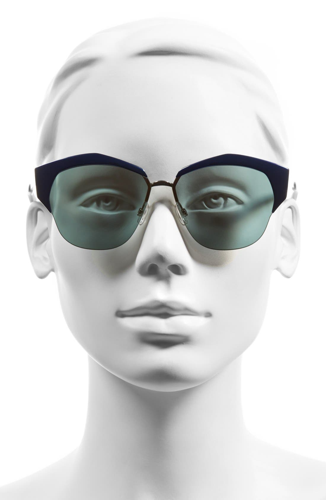 DIOR, 'Mirrors' 55mm Cat Eye Sunglasses, Alternate thumbnail 2, color, 001