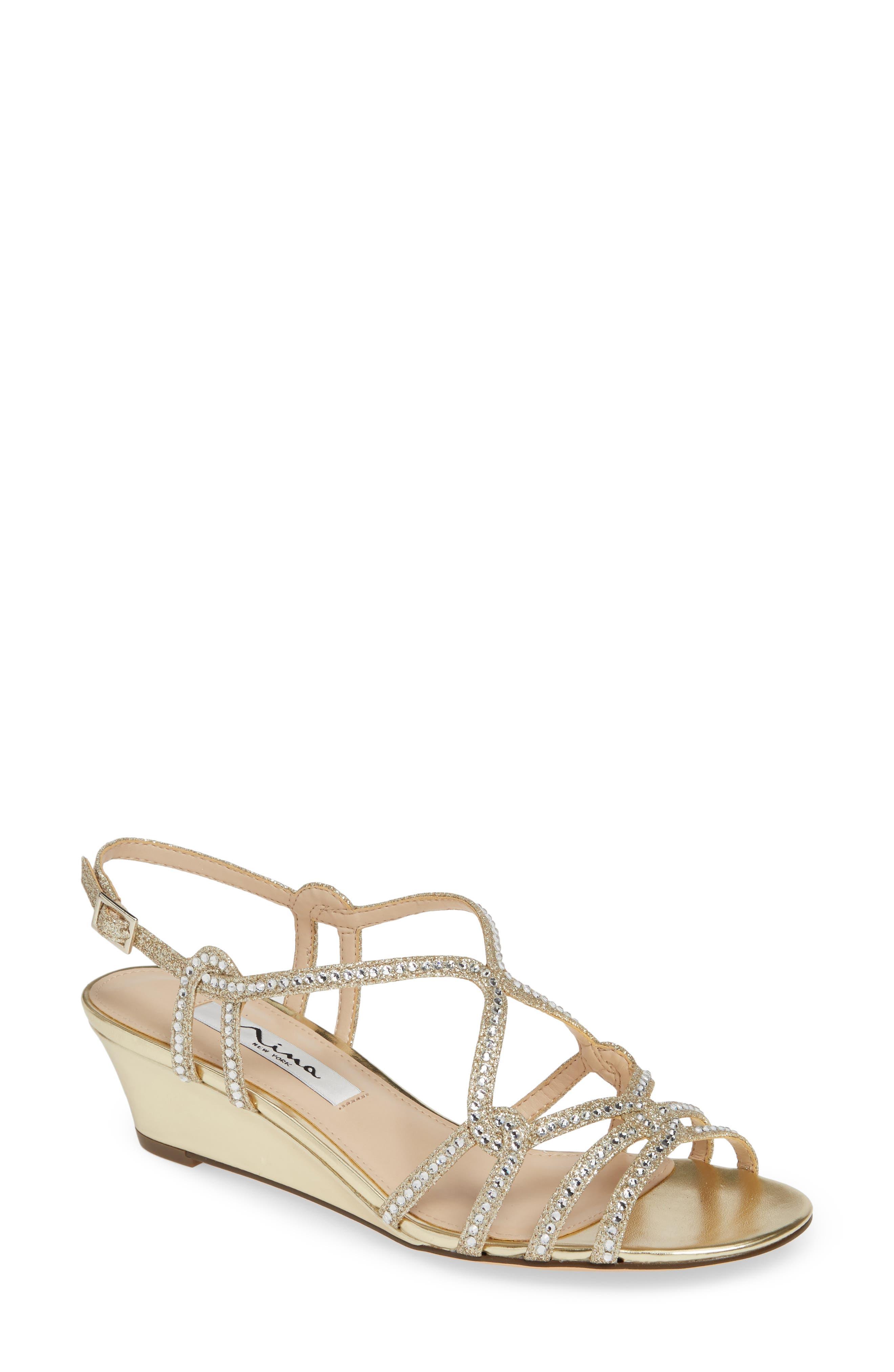 Nina Fynlee Crystal Embellished Wedge Sandal, Metallic