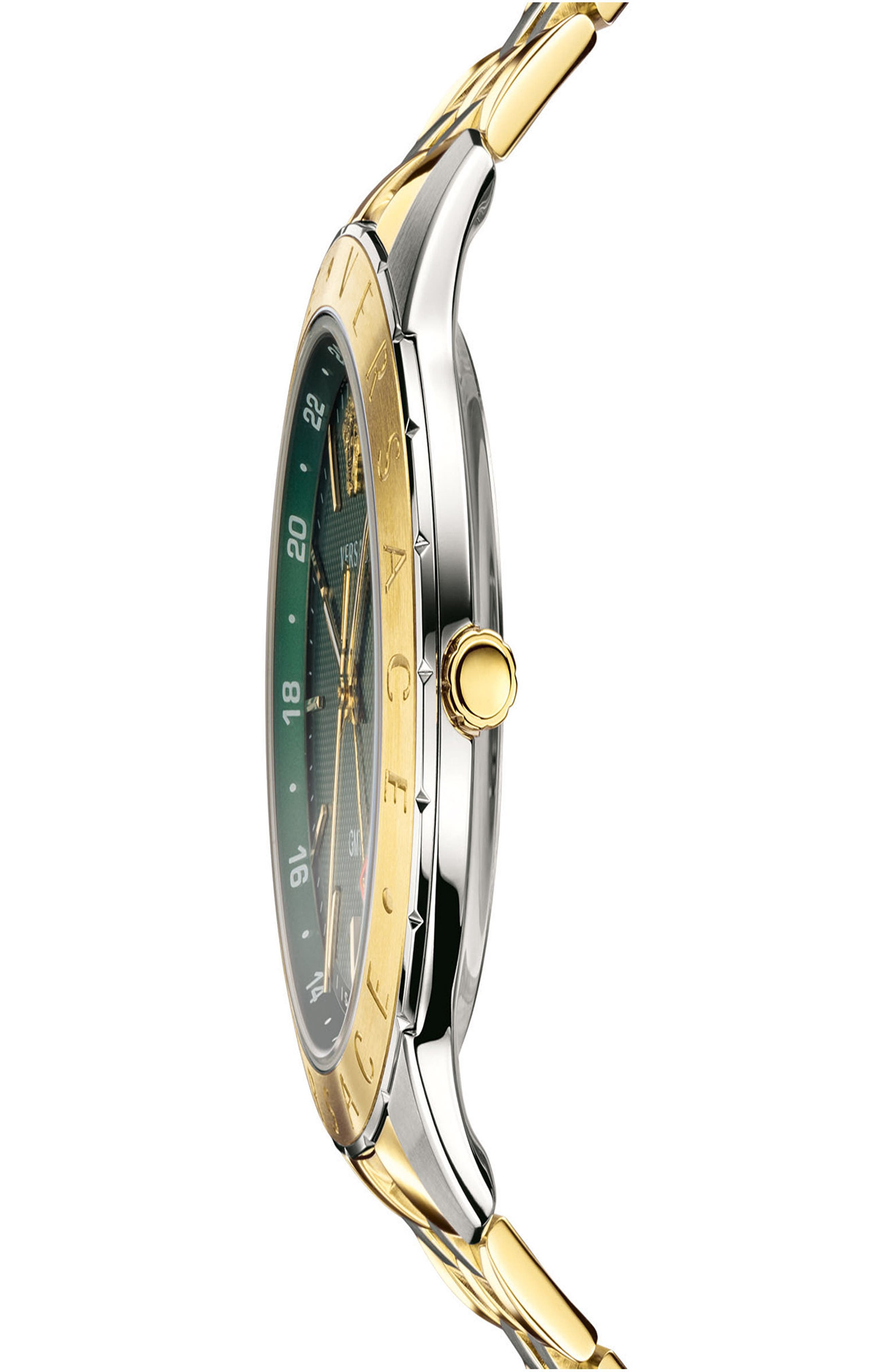 VERSACE, Univers Bracelet Watch, 43mm, Alternate thumbnail 3, color, SILVER/ GREEN/ GOLD