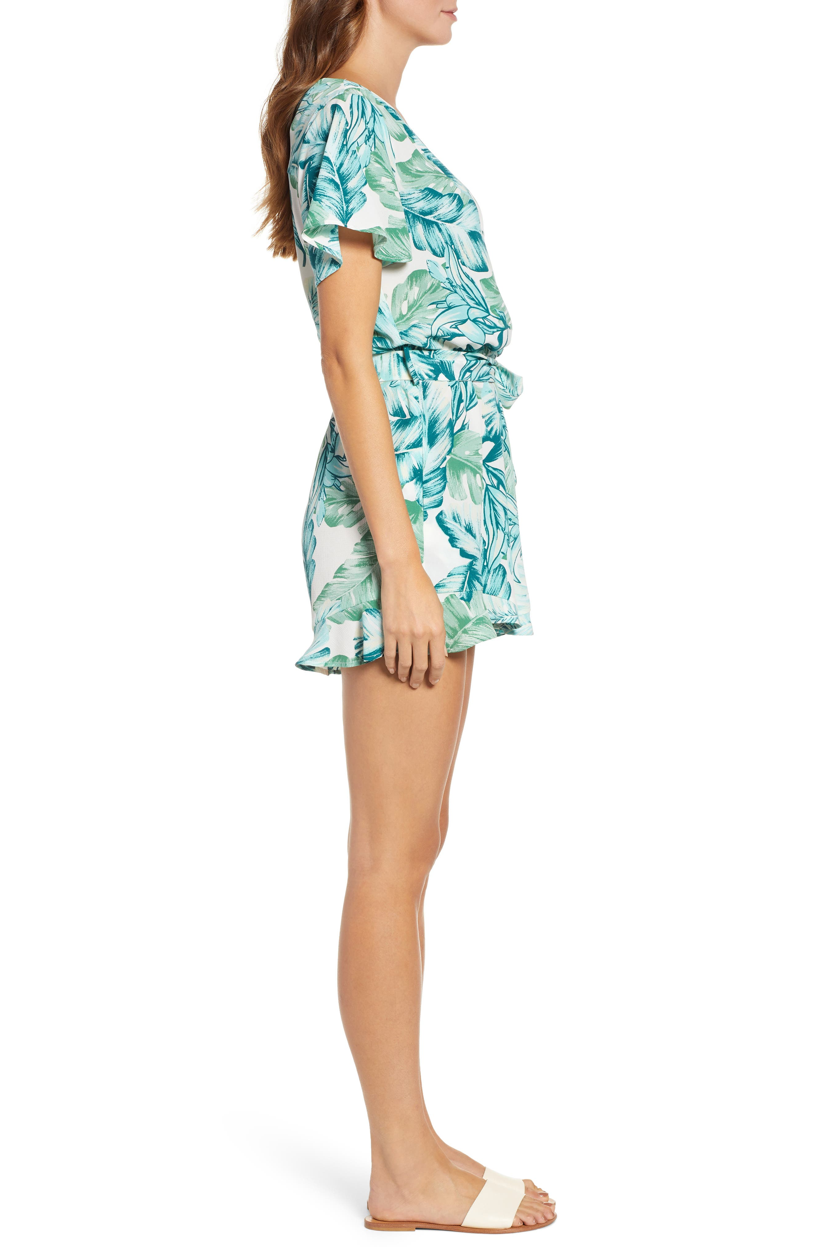 GIBSON, x Hi Sugarplum! Catalina Ruffle Hem Romper, Alternate thumbnail 4, color, PALM