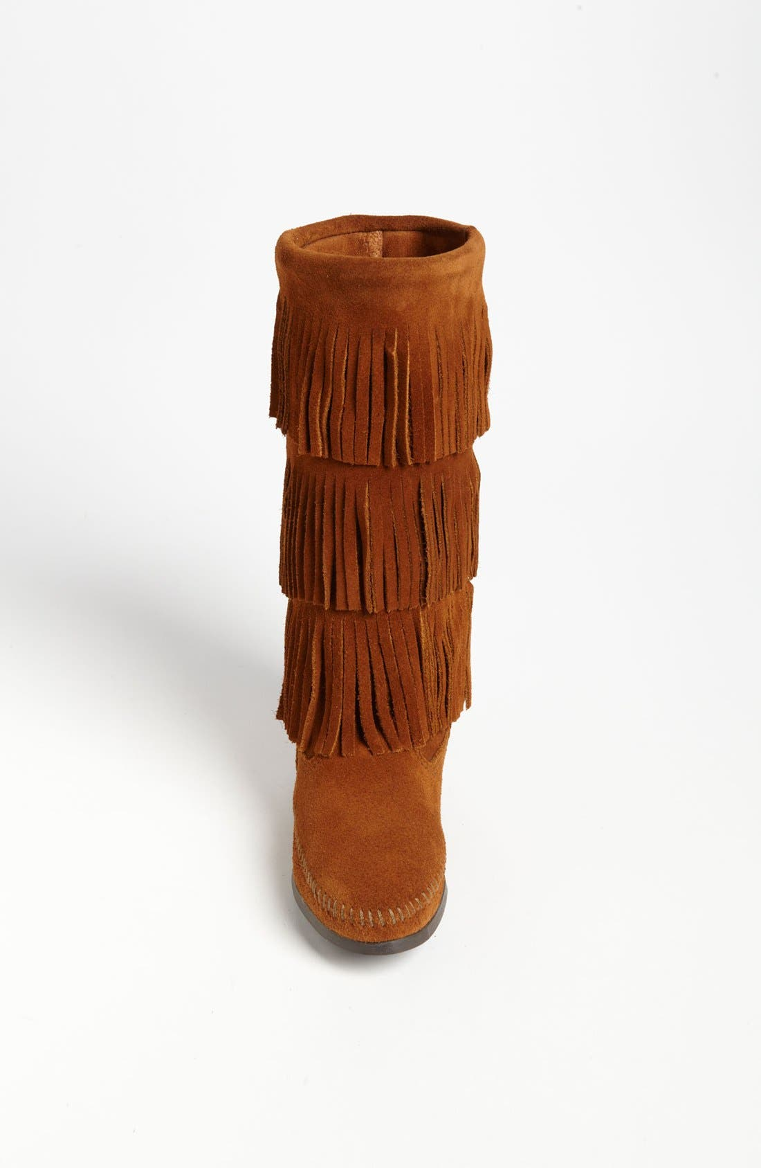 MINNETONKA, 3-Layer Fringe Boot, Alternate thumbnail 3, color, BROWN SUEDE