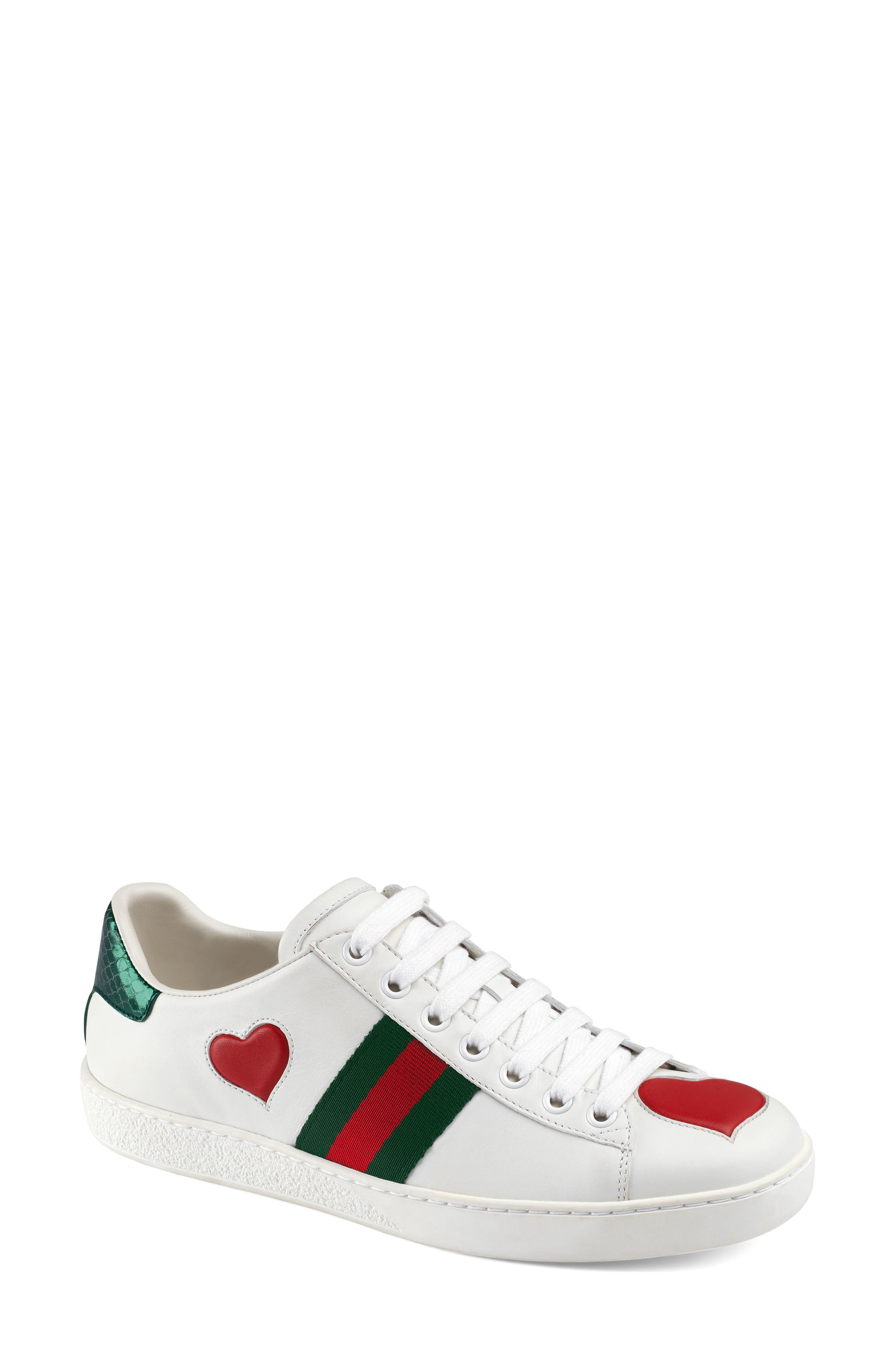 GUCCI, New Ace Heart Sneaker, Main thumbnail 1, color, WHITE