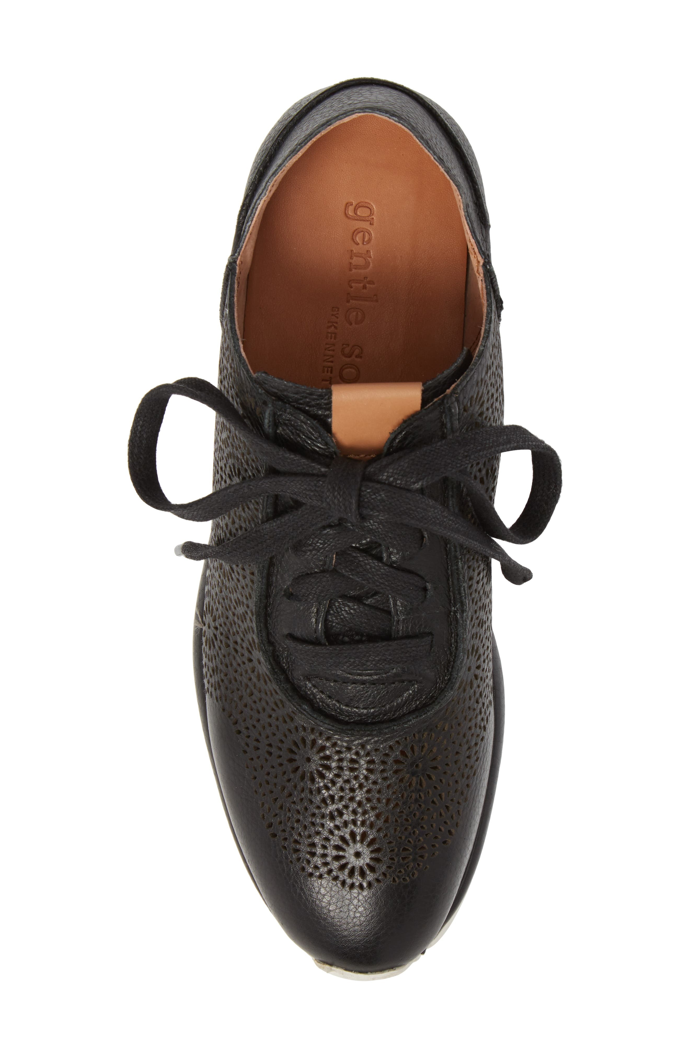 GENTLE SOULS BY KENNETH COLE, Raina II Sneaker, Alternate thumbnail 5, color, BLACK LEATHER