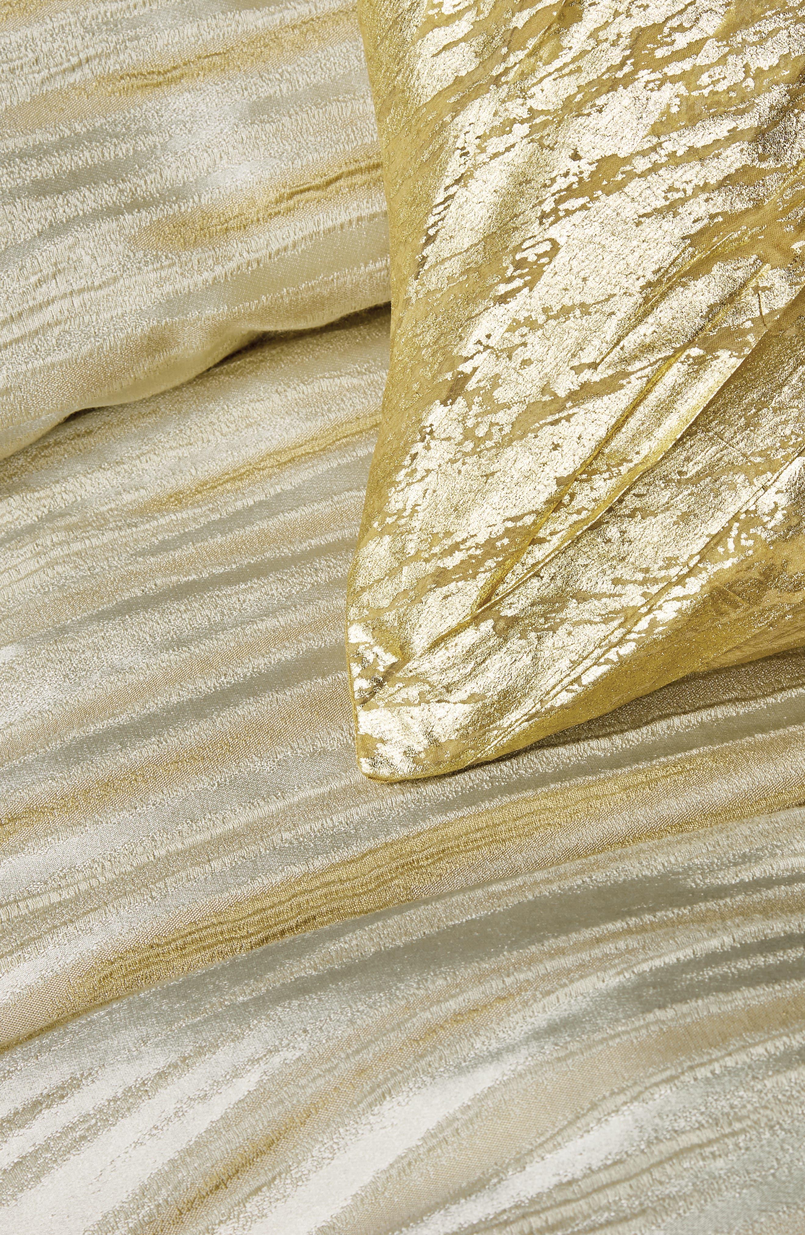 DONNA KARAN NEW YORK, Gilded Duvet Cover, Alternate thumbnail 2, color, GOLD