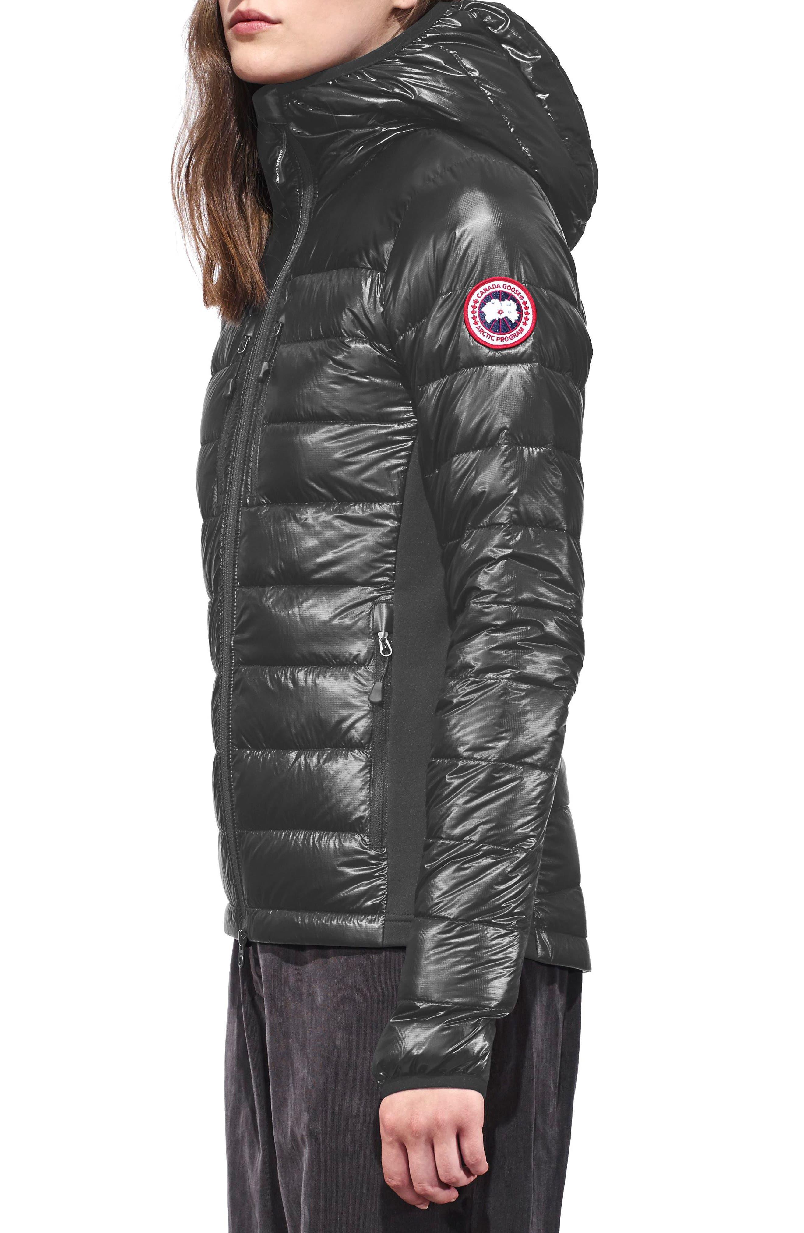 CANADA GOOSE, 'Hybridge Lite' Slim Fit Hooded Packable Down Jacket, Alternate thumbnail 4, color, S GRAPHITE/ L BLACK