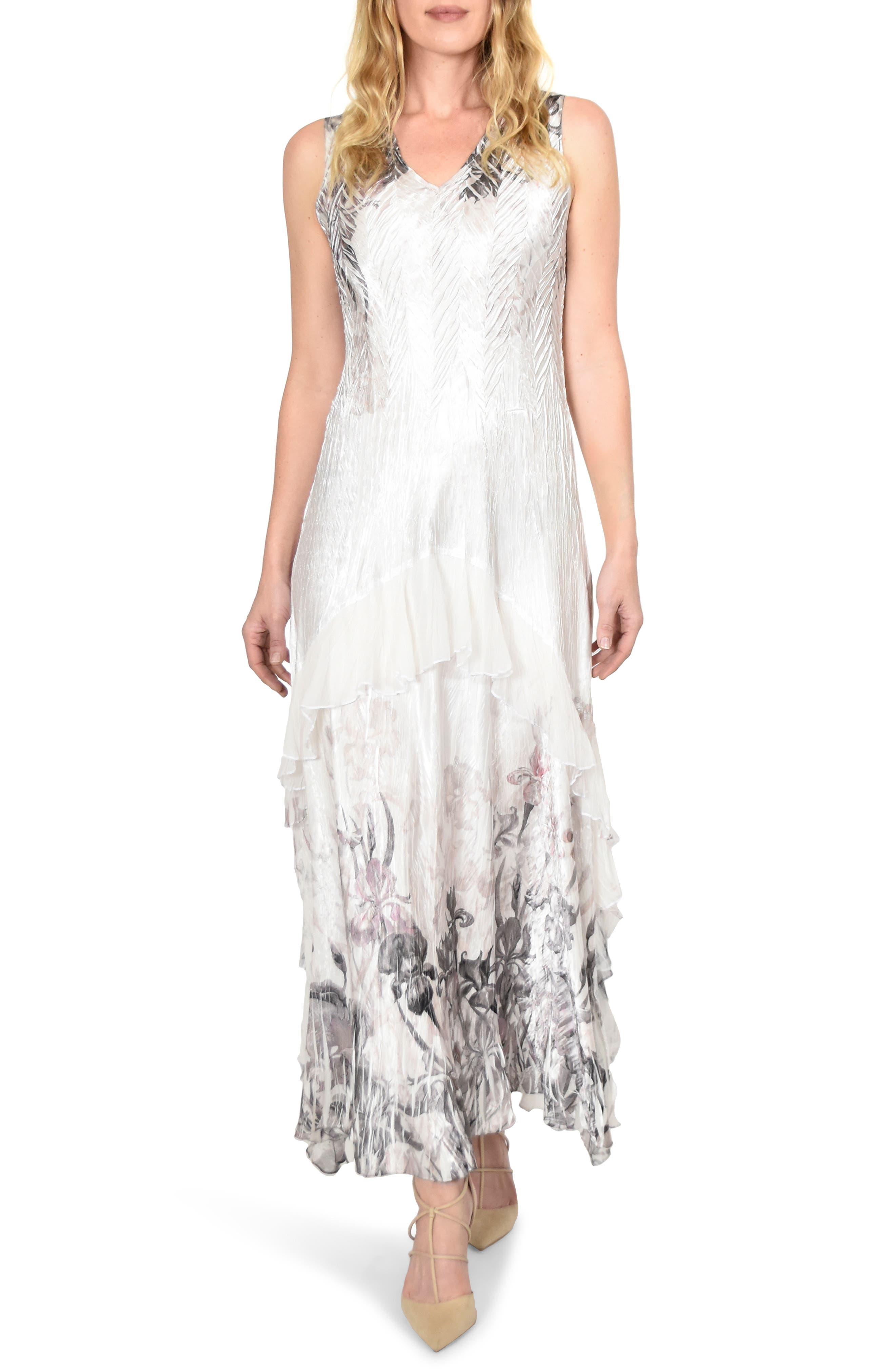 KOMAROV, Charmeuse Dress with Wrap, Alternate thumbnail 4, color, IRIS GARDEN