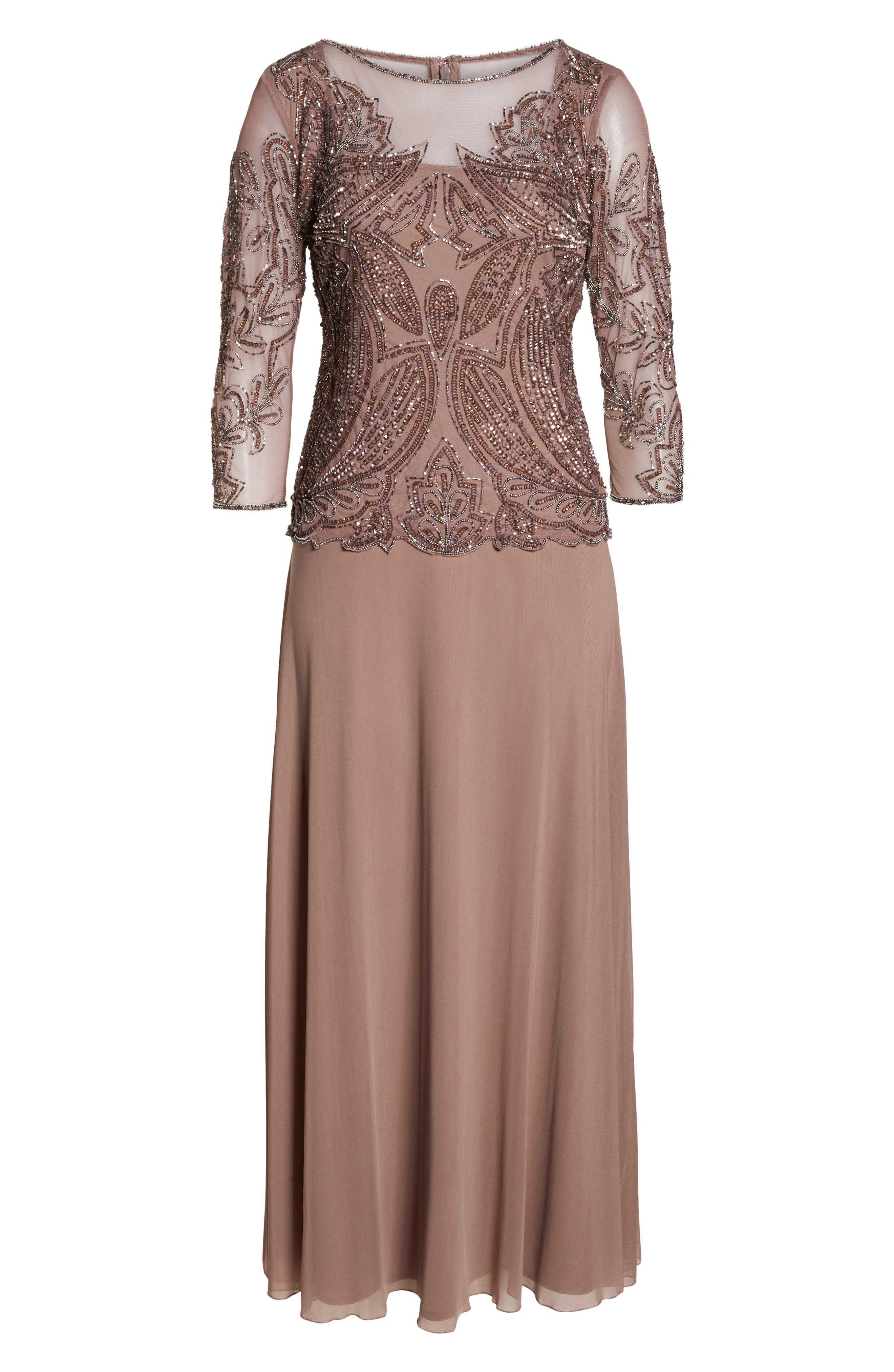 PISARRO NIGHTS, Embellished Mesh Gown, Alternate thumbnail 7, color, MAUVE