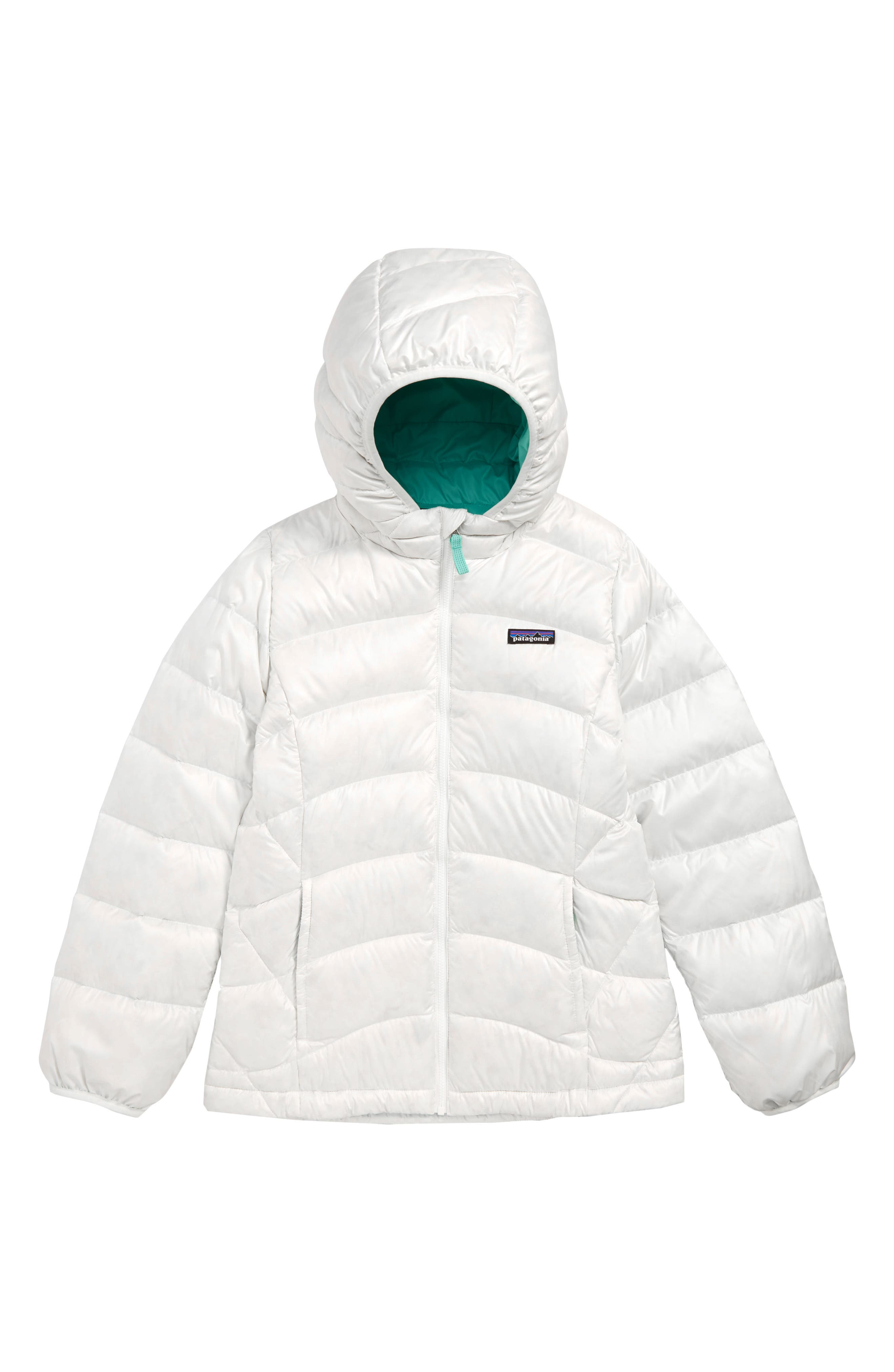 PATAGONIA Hi-Loft Down Sweater Hooded Jacket, Main, color, BIRCH WHITE