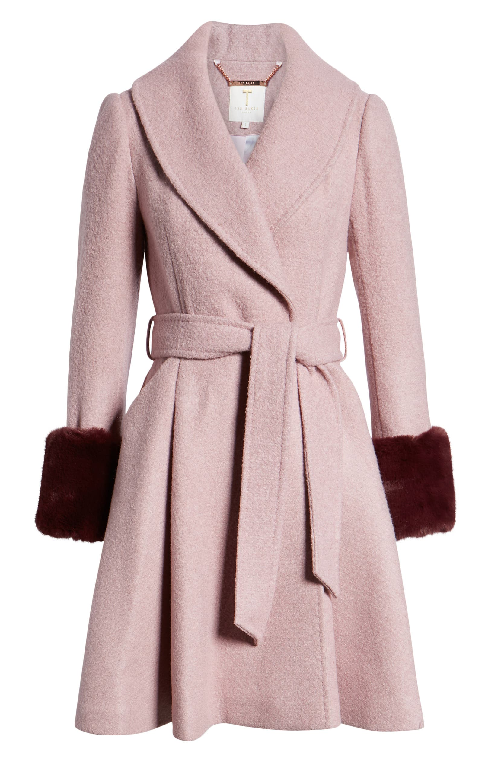 74c5df51ca40 Ted Baker London Faux Fur Cuff Skirted Coat