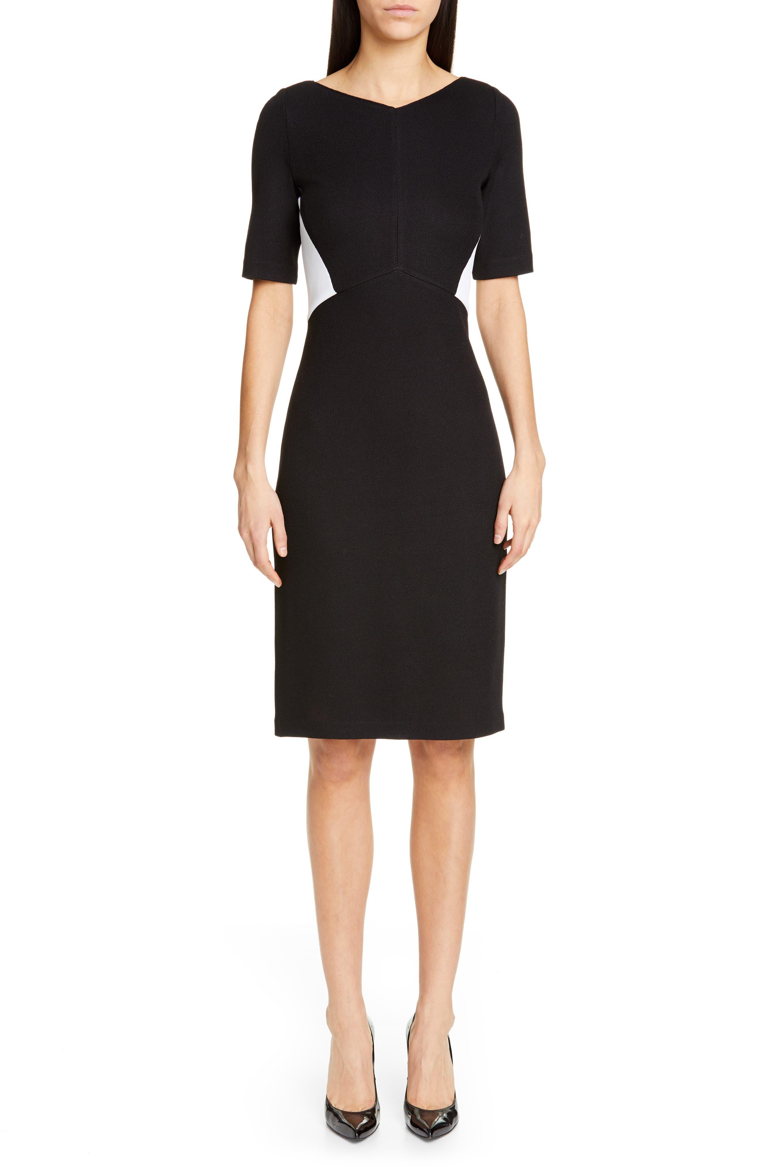 ST. JOHN COLLECTION, Piqué Milano Knit Dress, Main thumbnail 1, color, CAVIAR/ BIANCO