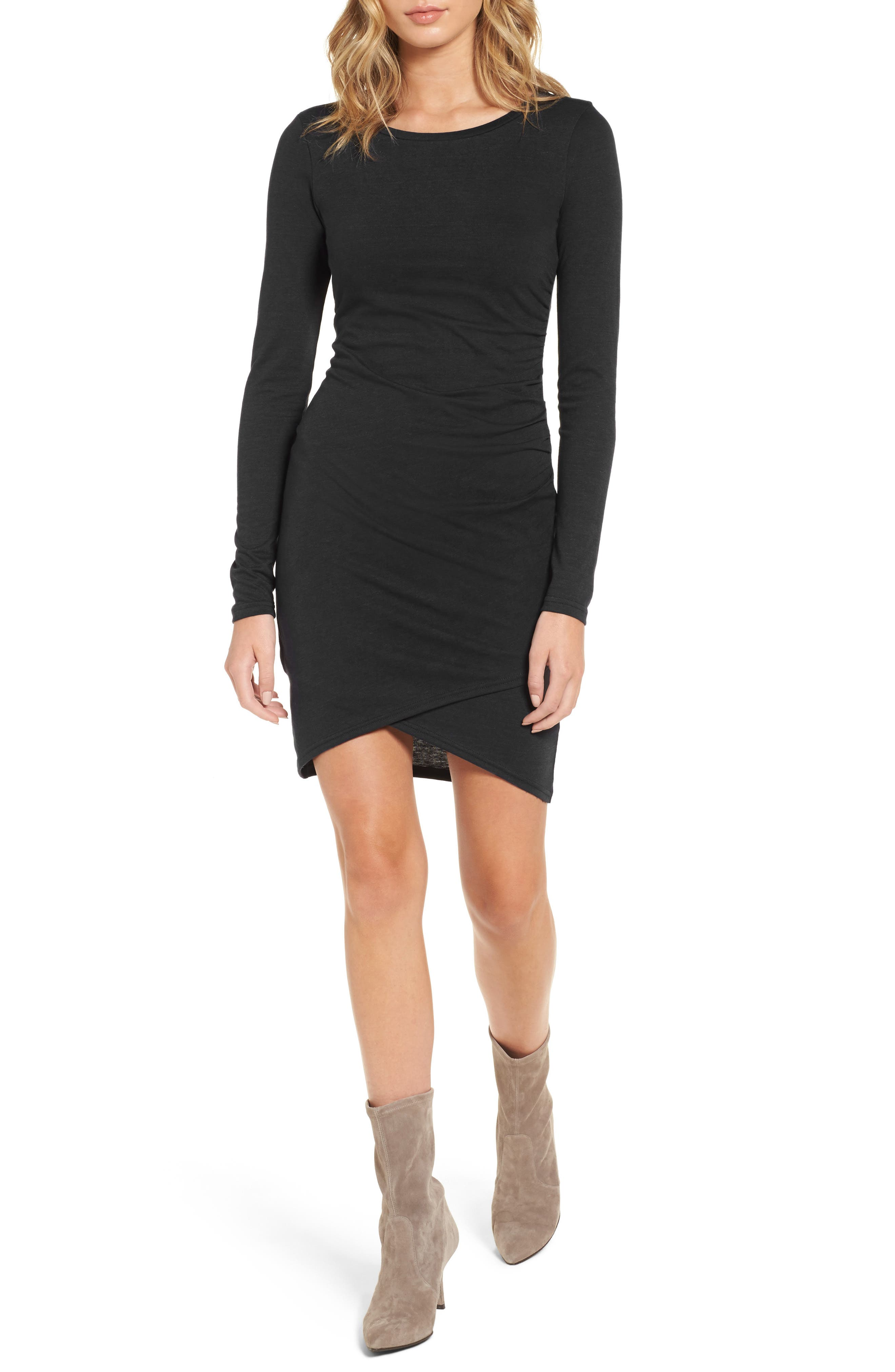 LEITH, Ruched Long Sleeve Dress, Alternate thumbnail 5, color, 001