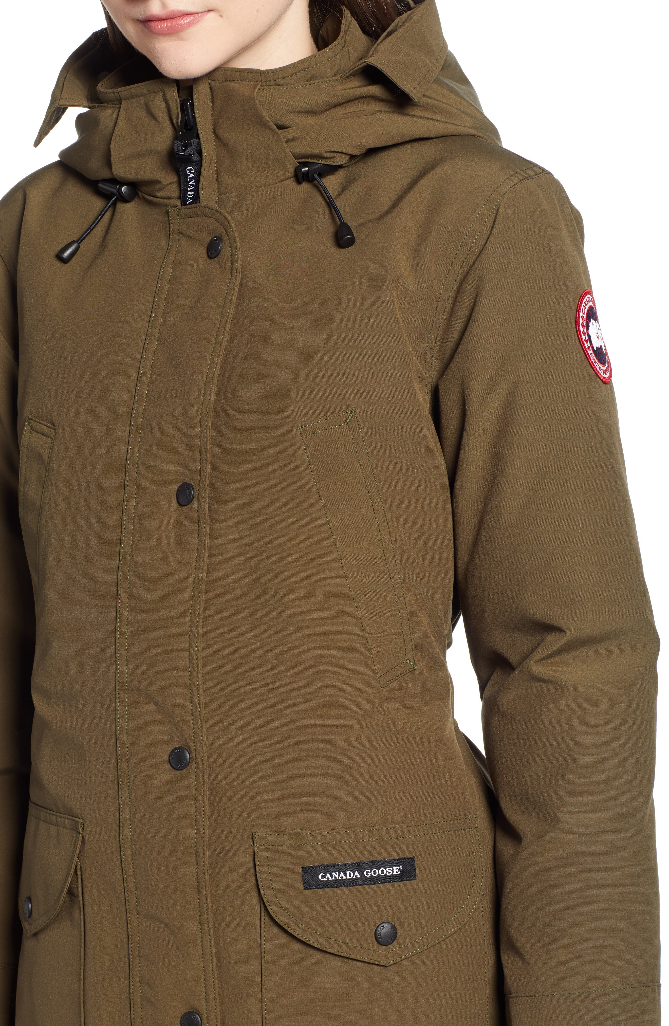 CANADA GOOSE, 'Trillium' Regular Fit Down Parka with Genuine Coyote Fur Trim, Alternate thumbnail 5, color, MILITARY GREEN