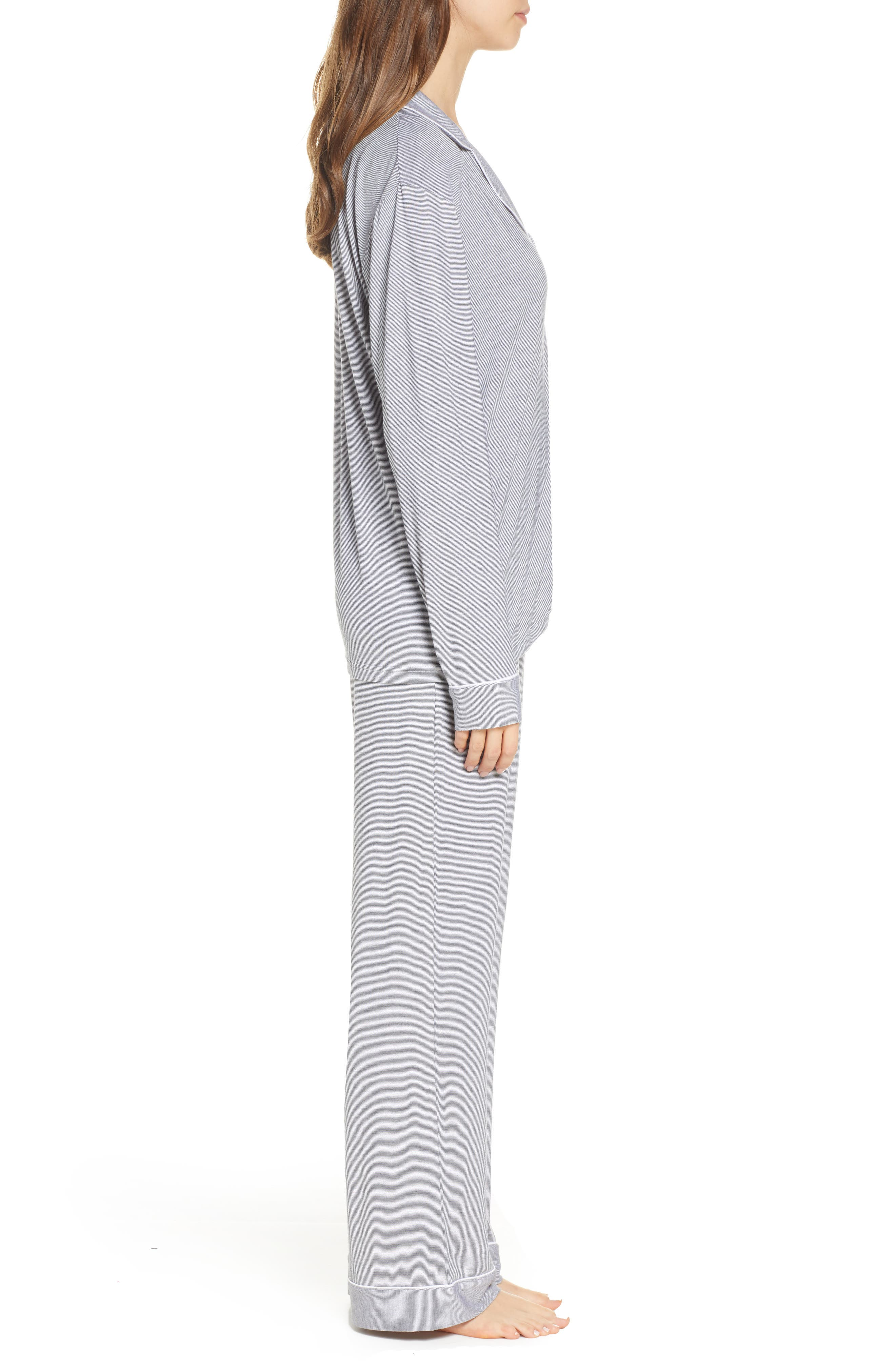 UGG<SUP>®</SUP>, Lenon Mini Stripe Jersey Pajamas, Alternate thumbnail 3, color, BLACK/ CREAM
