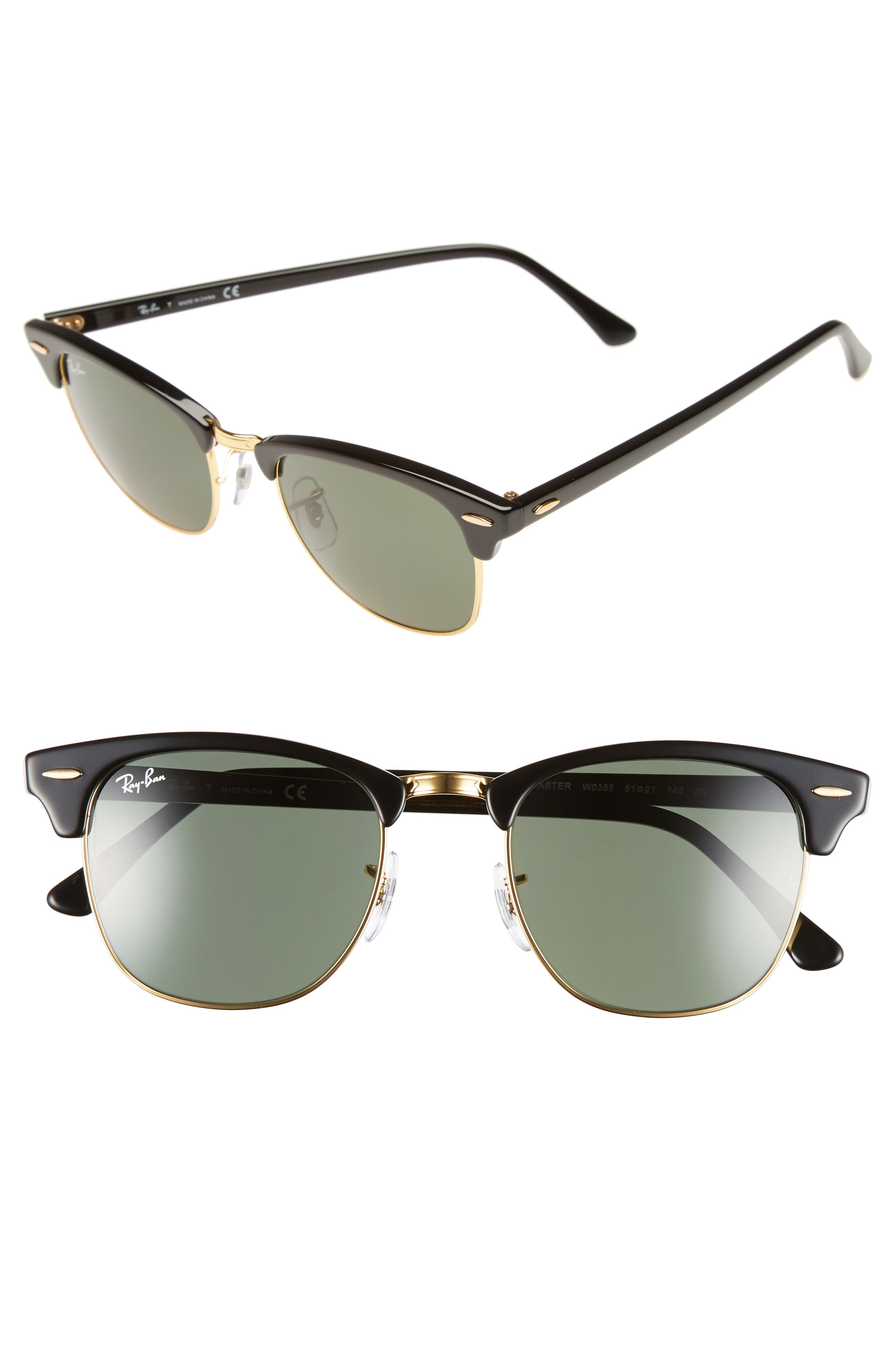 RAY-BAN, Classic Clubmaster 51mm Sunglasses, Alternate thumbnail 2, color, BLACK/ GREEN