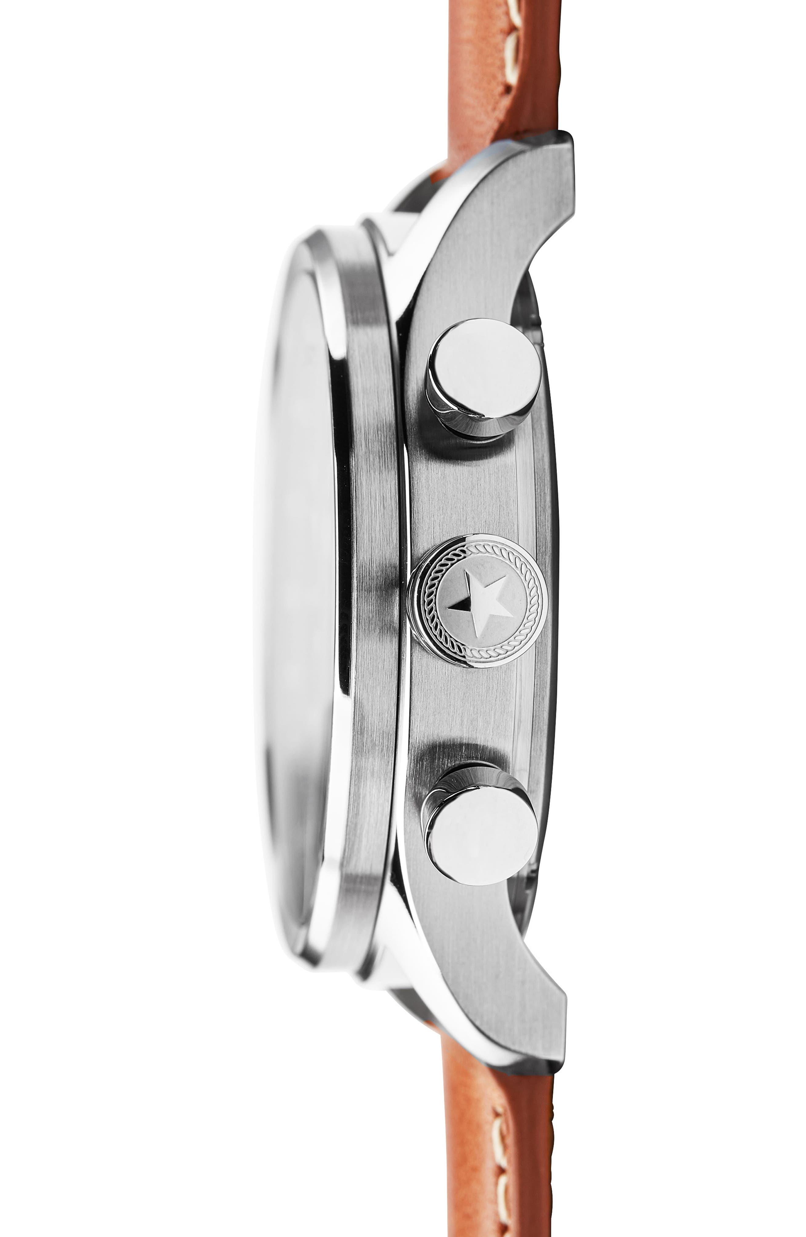 JACK MASON, Nautical Chronograph Leather Strap Watch, 42mm, Alternate thumbnail 3, color, GREY/ BROWN