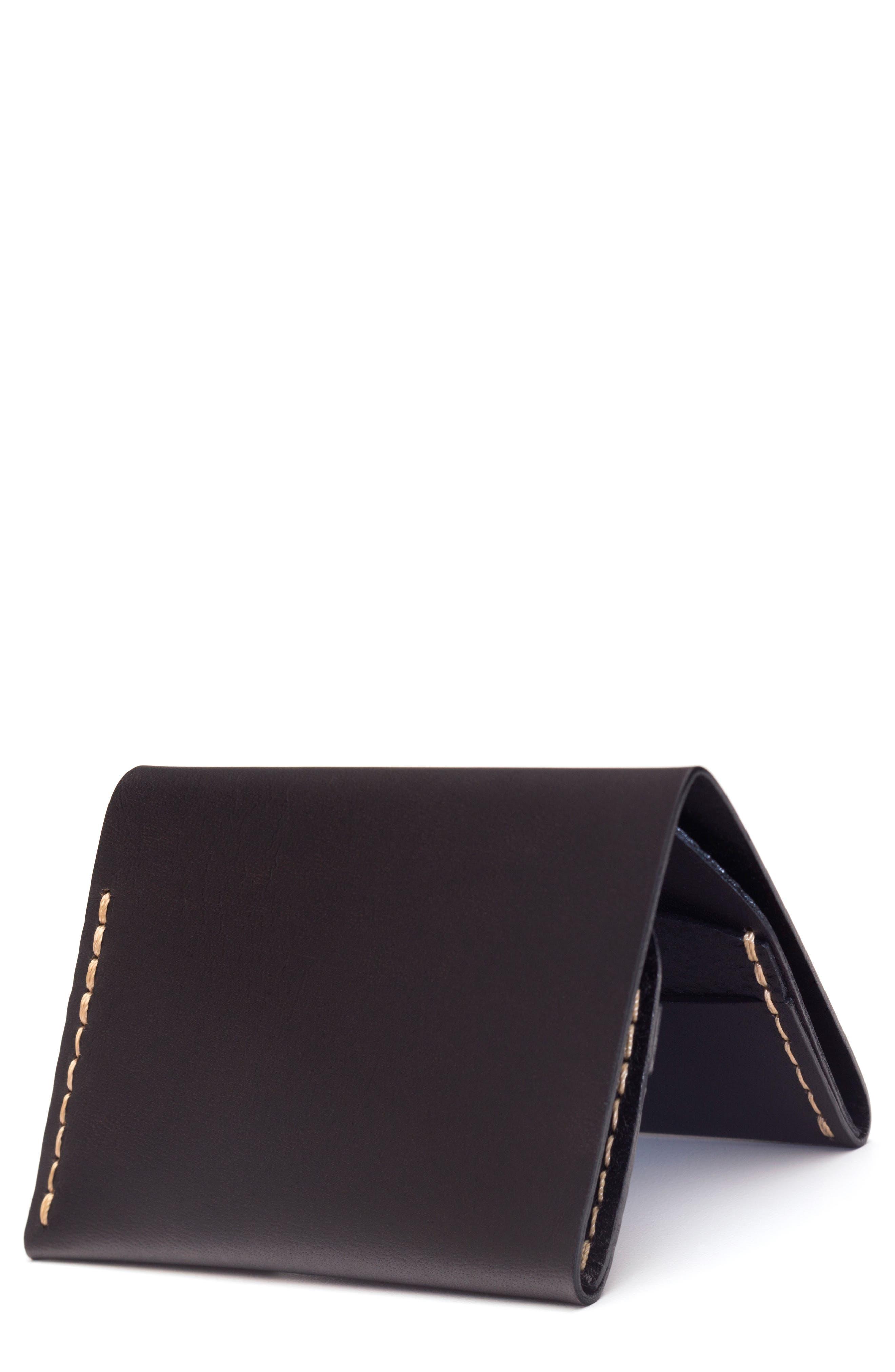 EZRA ARTHUR No. 4 Leather Wallet, Main, color, JET TOP STITCH