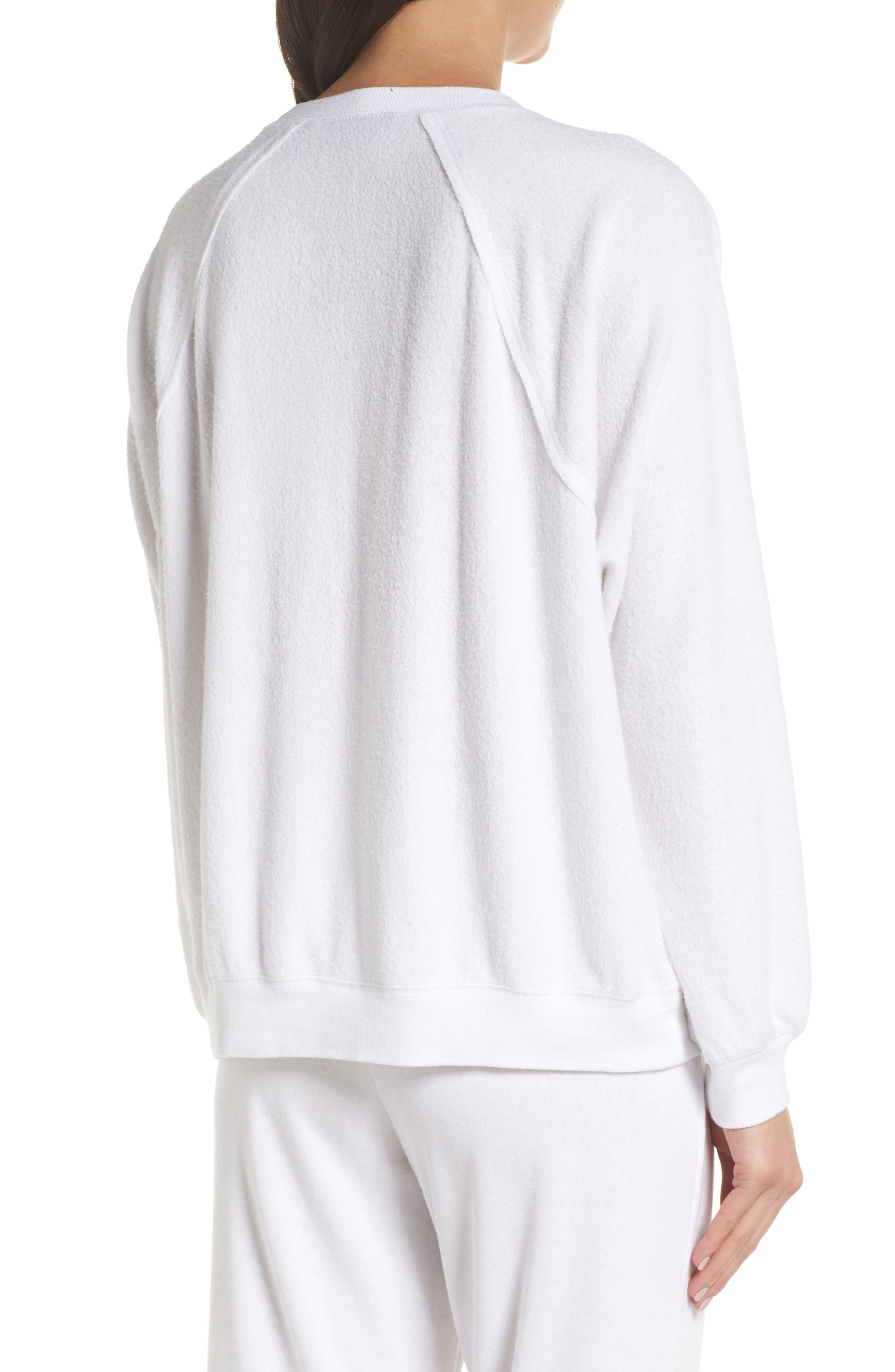 SOMETHING NAVY, Batwing Fleece Pullover, Alternate thumbnail 2, color, WHITE