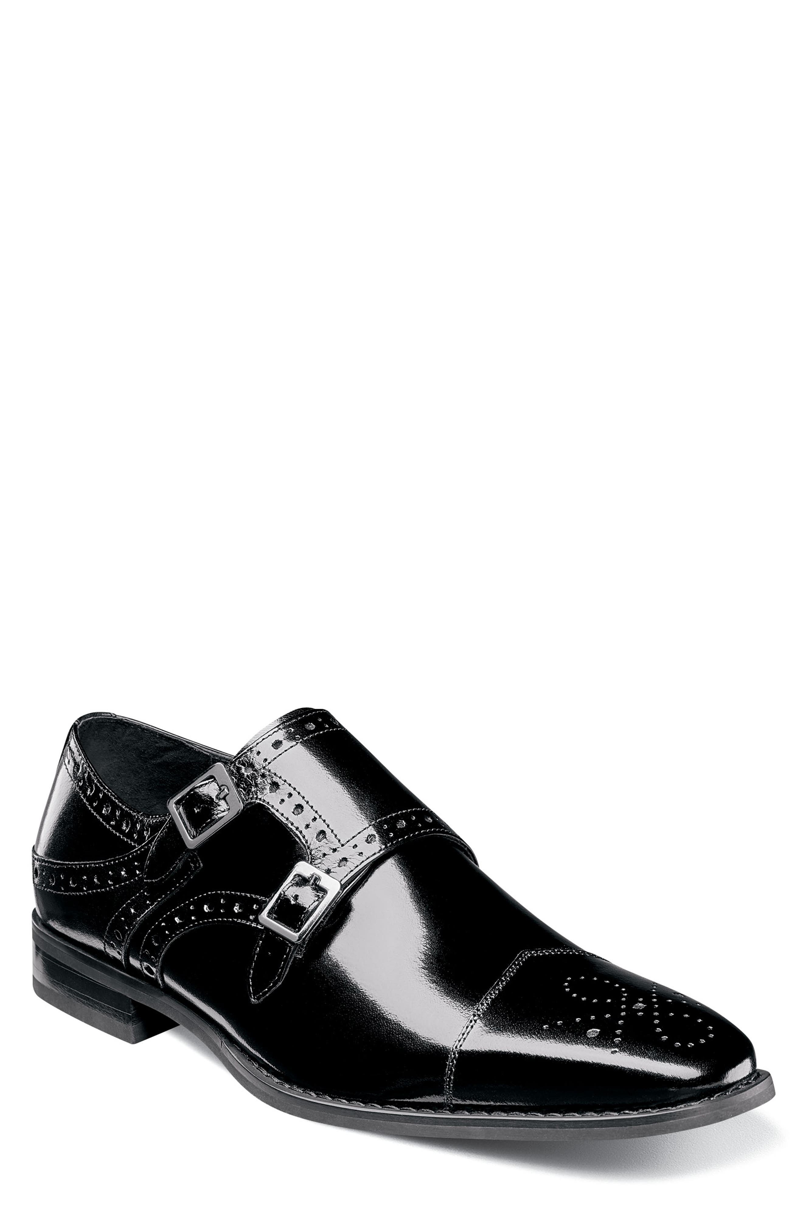STACY ADAMS Tayton Cap Toe Double Strap Monk Shoe, Main, color, BLACK LEATHER