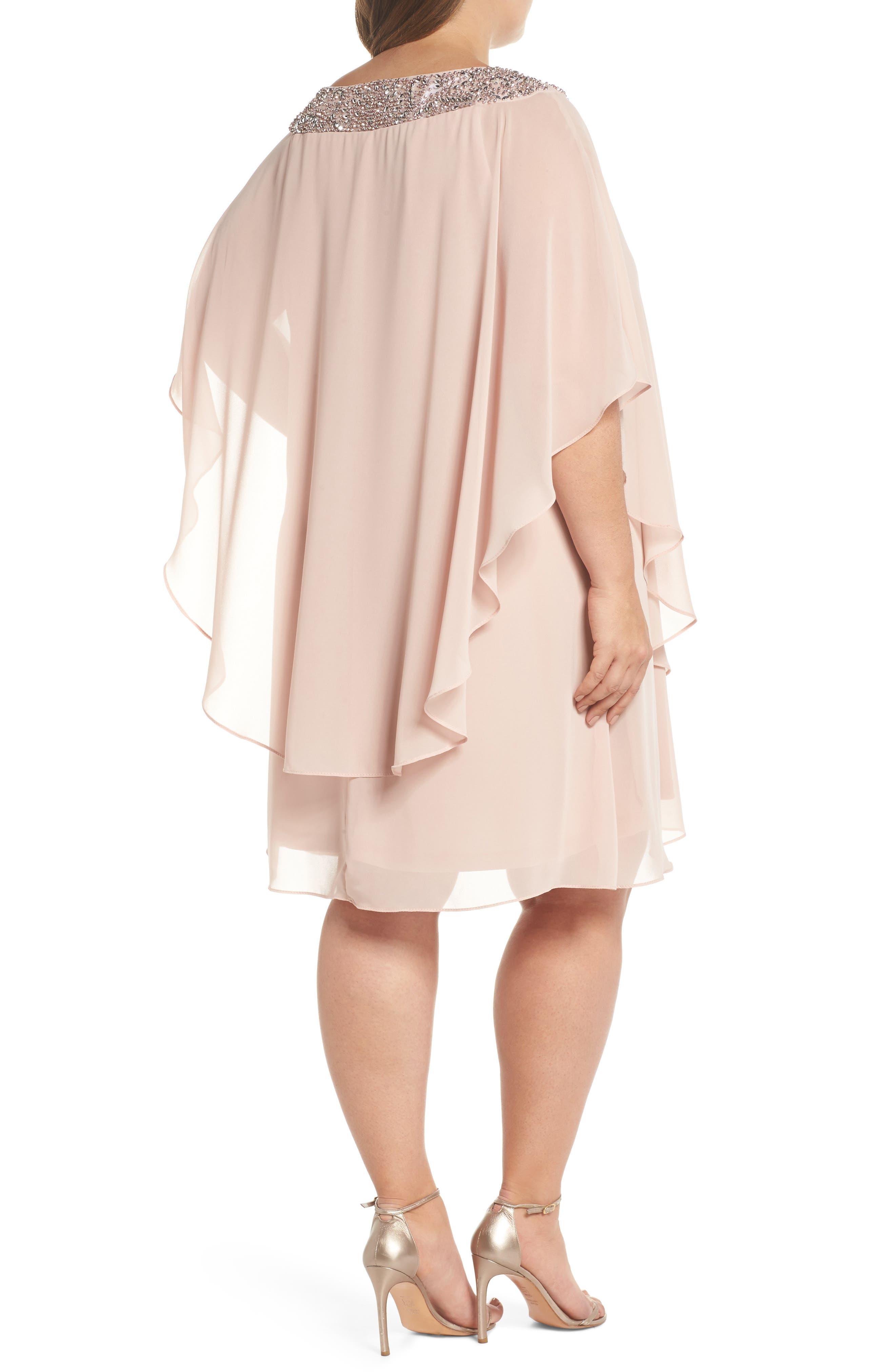 XSCAPE, Beaded Neck Chiffon Overlay Dress, Alternate thumbnail 2, color, BLUSH/ SILVER