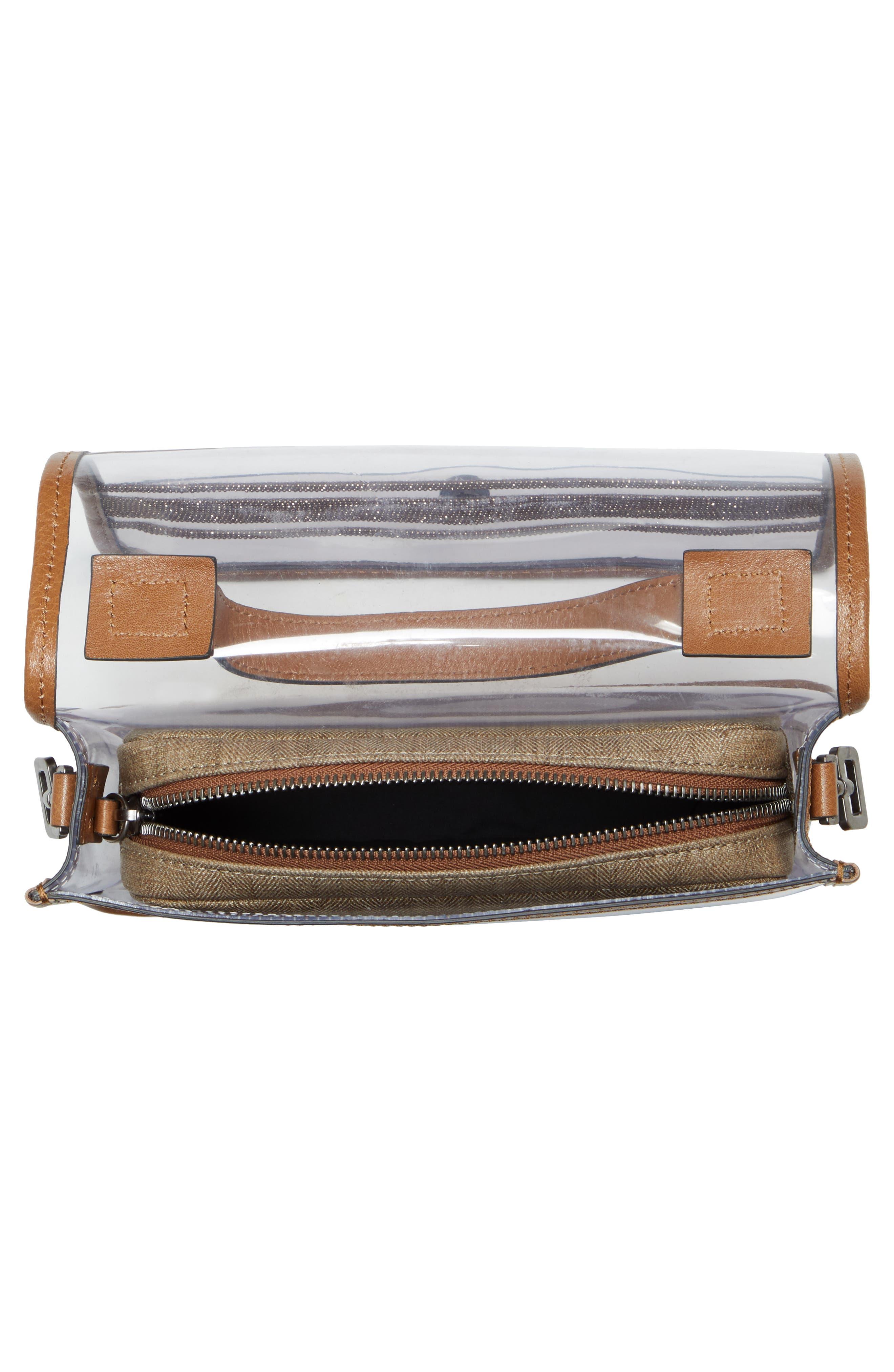 BRUNELLO CUCINELLI, Monili & Leather Trim Clear Shoulder Bag, Alternate thumbnail 4, color, LT BROWN