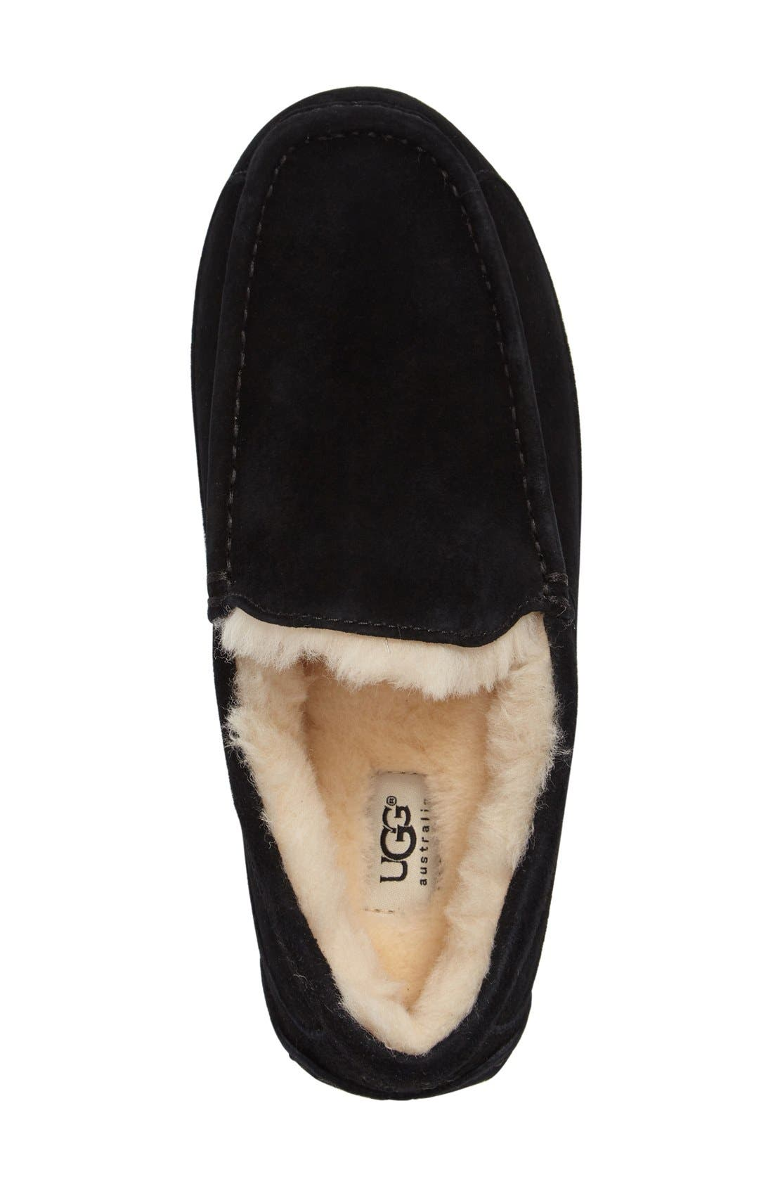 UGG<SUP>®</SUP>, Ascot Suede Slipper, Alternate thumbnail 3, color, BLACK SUEDE
