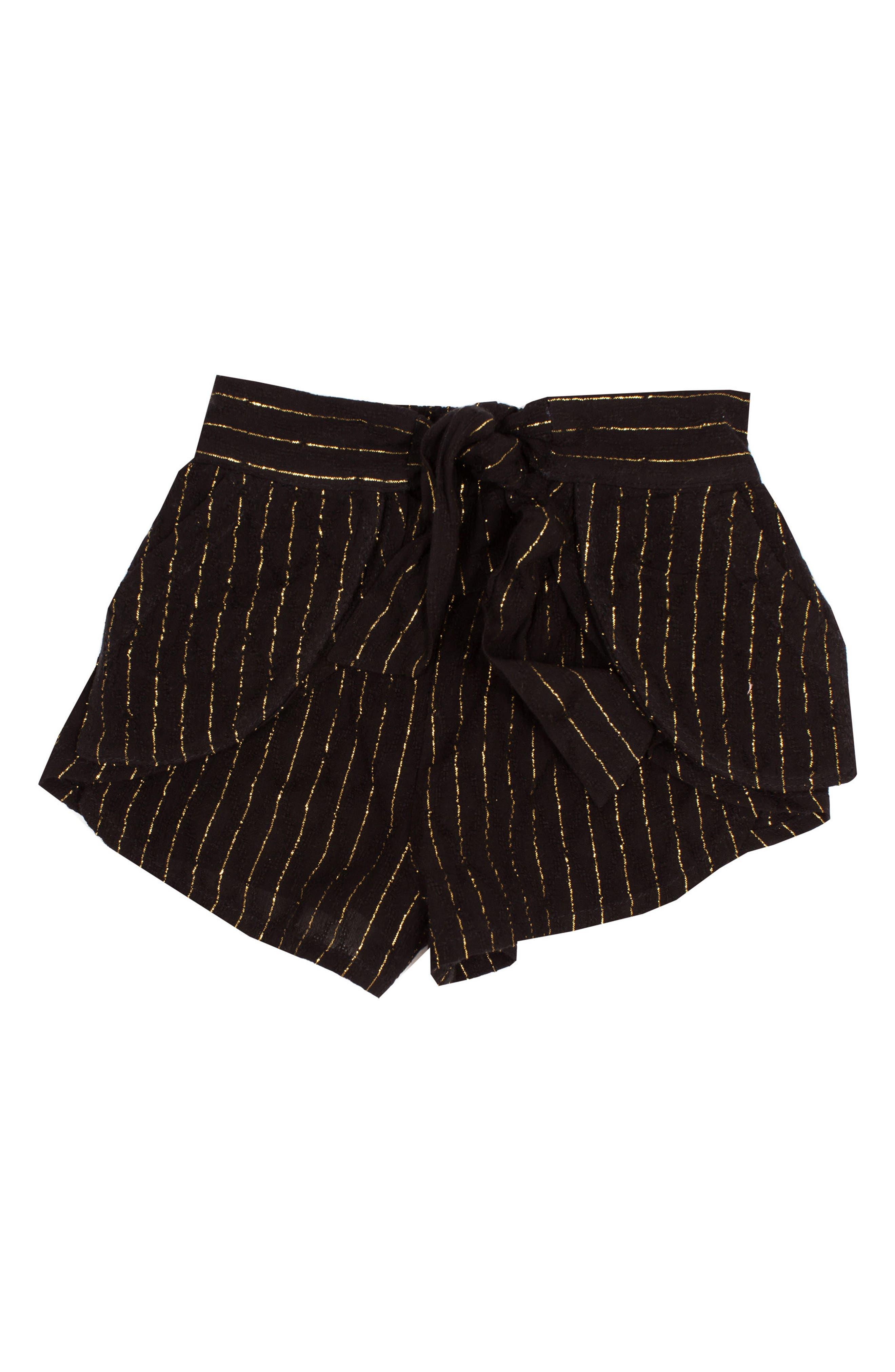 BOWIE X JAMES, Eclipse Metallic Stripe Shorts, Main thumbnail 1, color, BLACK