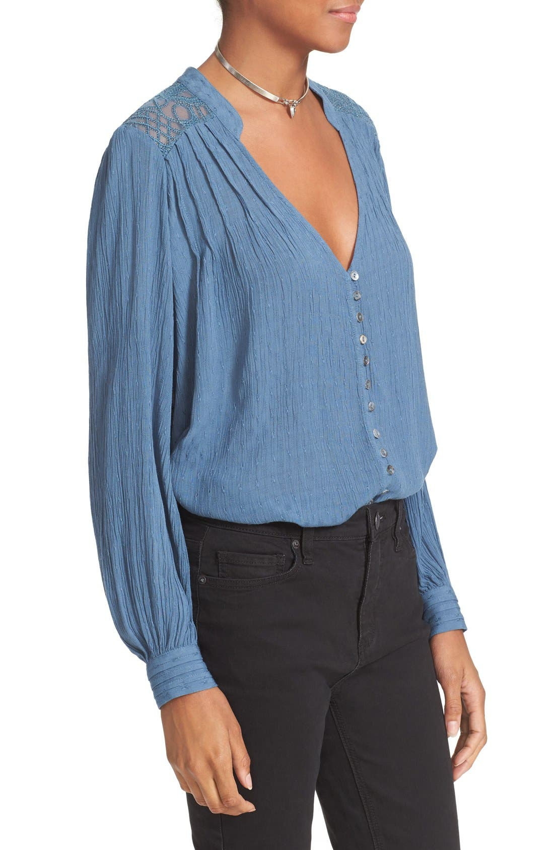 FREE PEOPLE, Canyon Rose Embroidered Yoke Blouse, Alternate thumbnail 4, color, 400