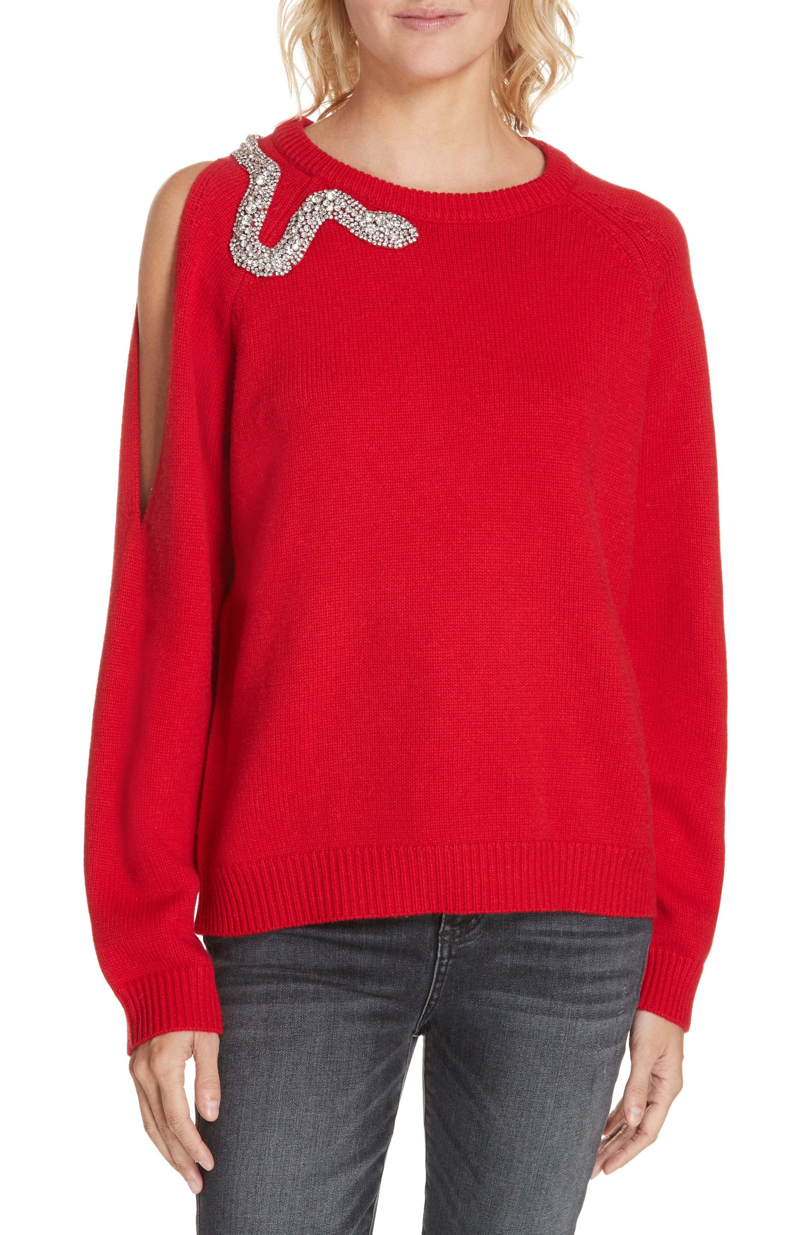 Ba & sh Ossi Embellished Wool Sweater, Red