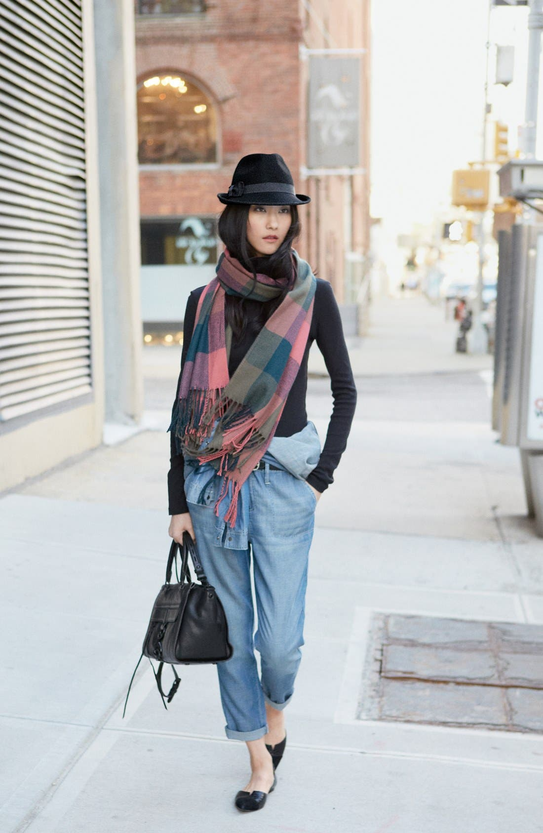 RENÉE'S ACCESSORIES, Renee's Accessories Plaid Fringe Scarf, Alternate thumbnail 4, color, 400