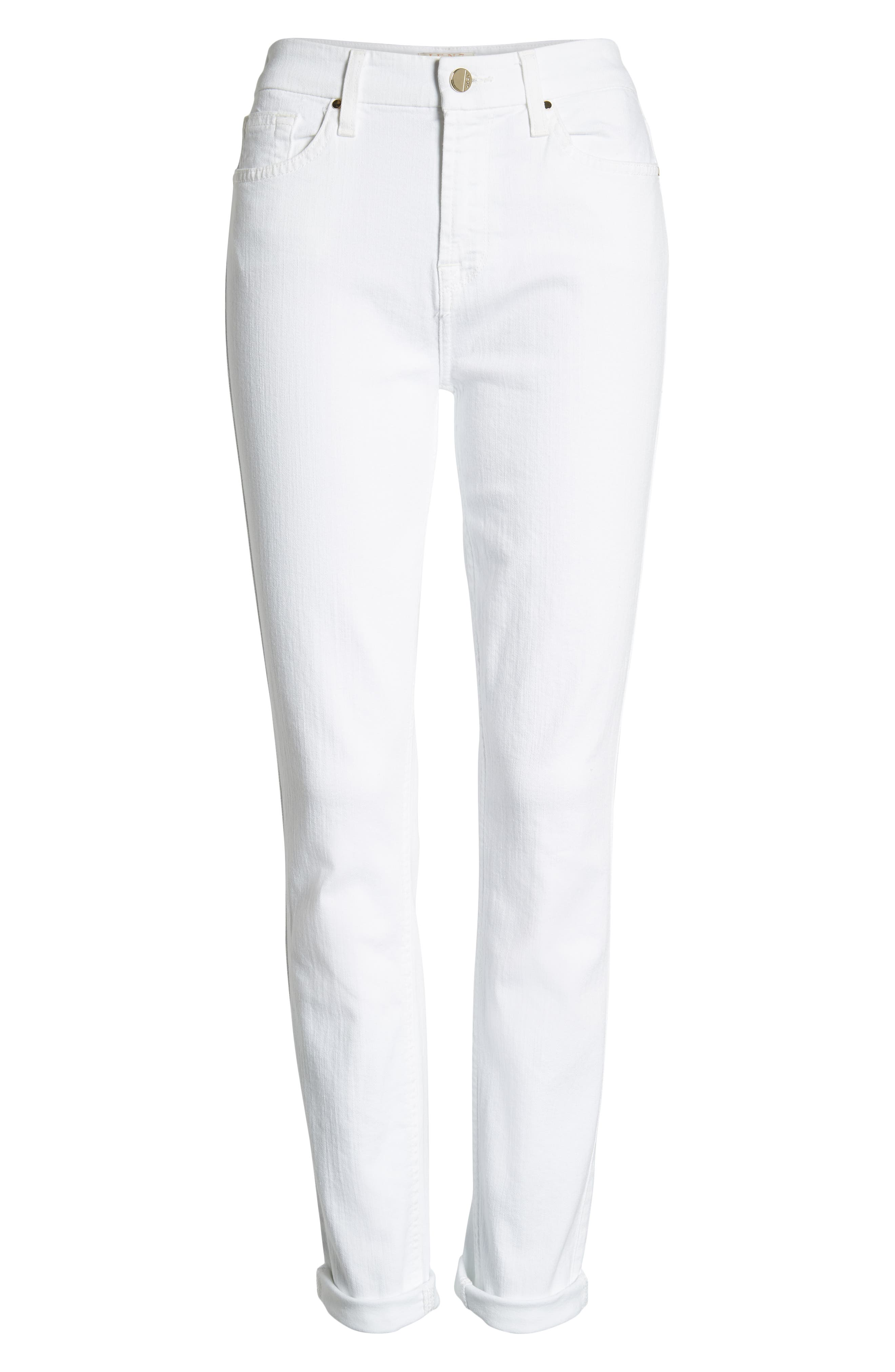 JEN7 BY 7 FOR ALL MANKIND, Stretch Skinny Jeans, Alternate thumbnail 7, color, WHITE