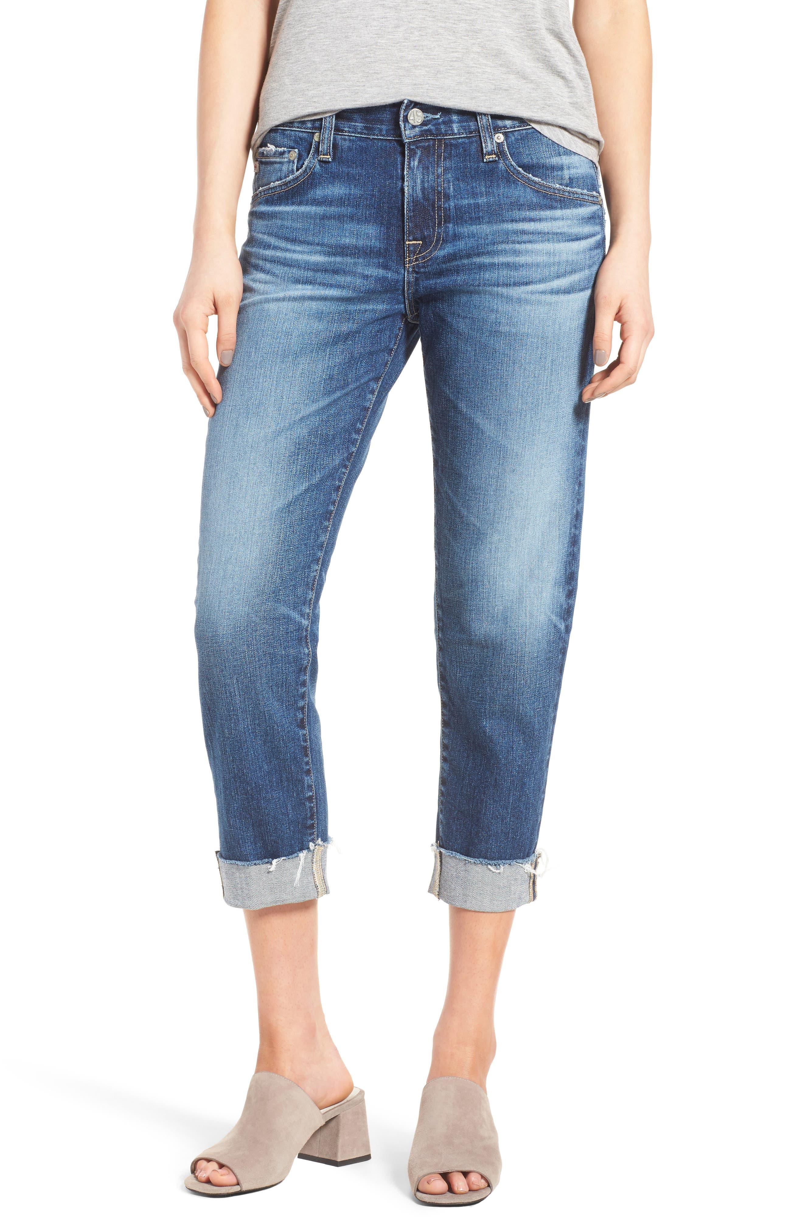 AG, The Ex Boyfriend Crop Jeans, Main thumbnail 1, color, 12 YEARS BLUE AURA
