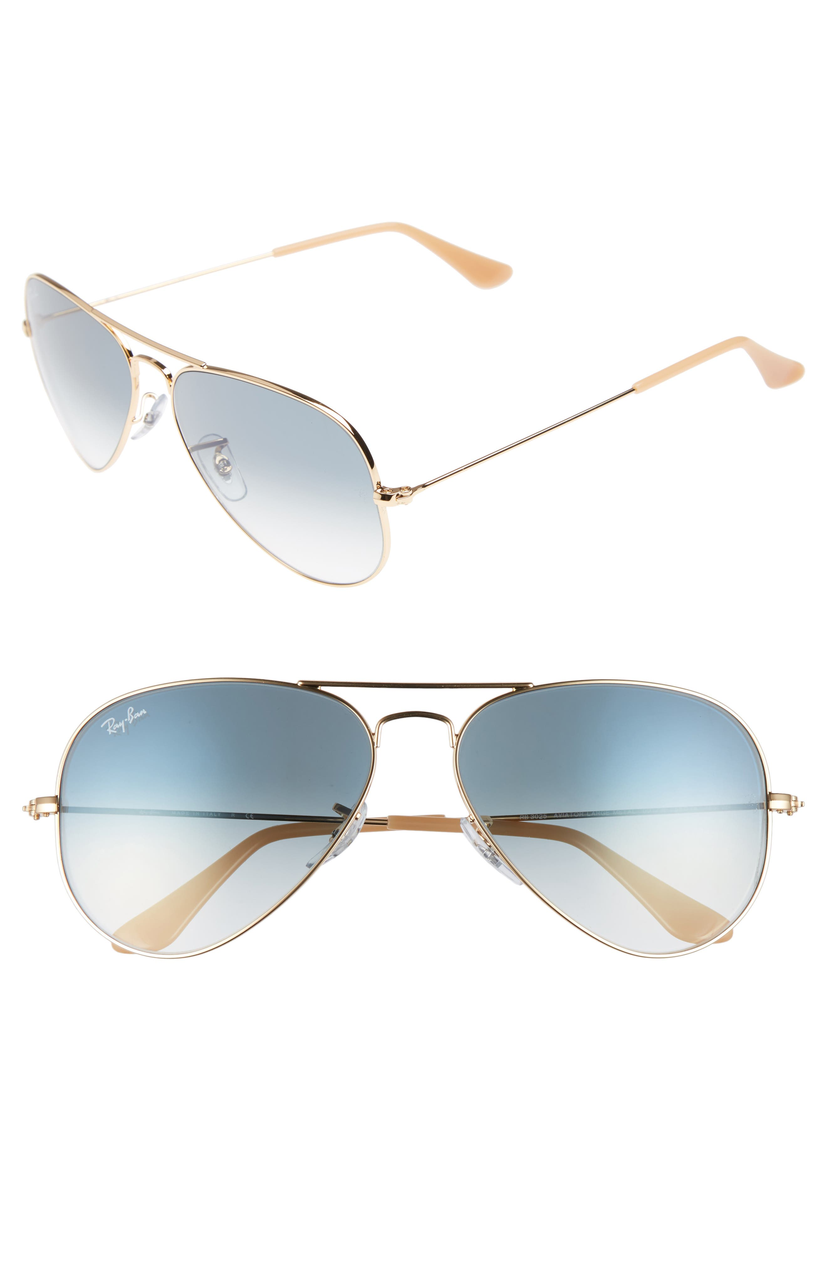 RAY-BAN Original Aviator 58mm Sunglasses, Main, color, MATTE GOLD/ BLUE MIRROR