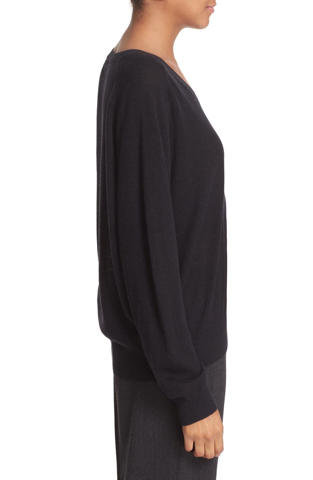 VINCE, Relaxed Cashmere V-Neck Sweater, Alternate thumbnail 5, color, 001