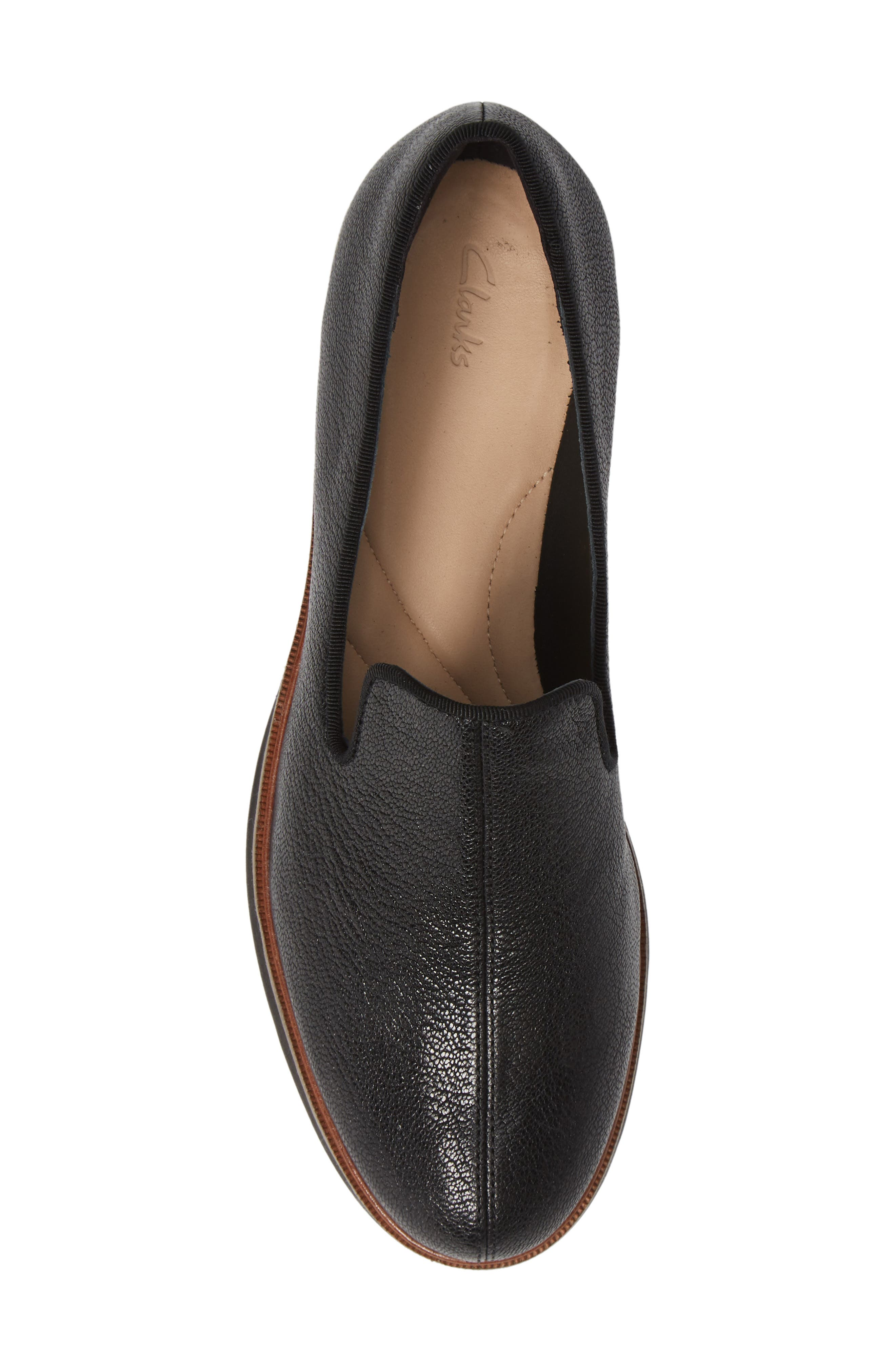 CLARKS<SUP>®</SUP>, Frida Loafer, Alternate thumbnail 5, color, BLACK TUMBLED LEATHER