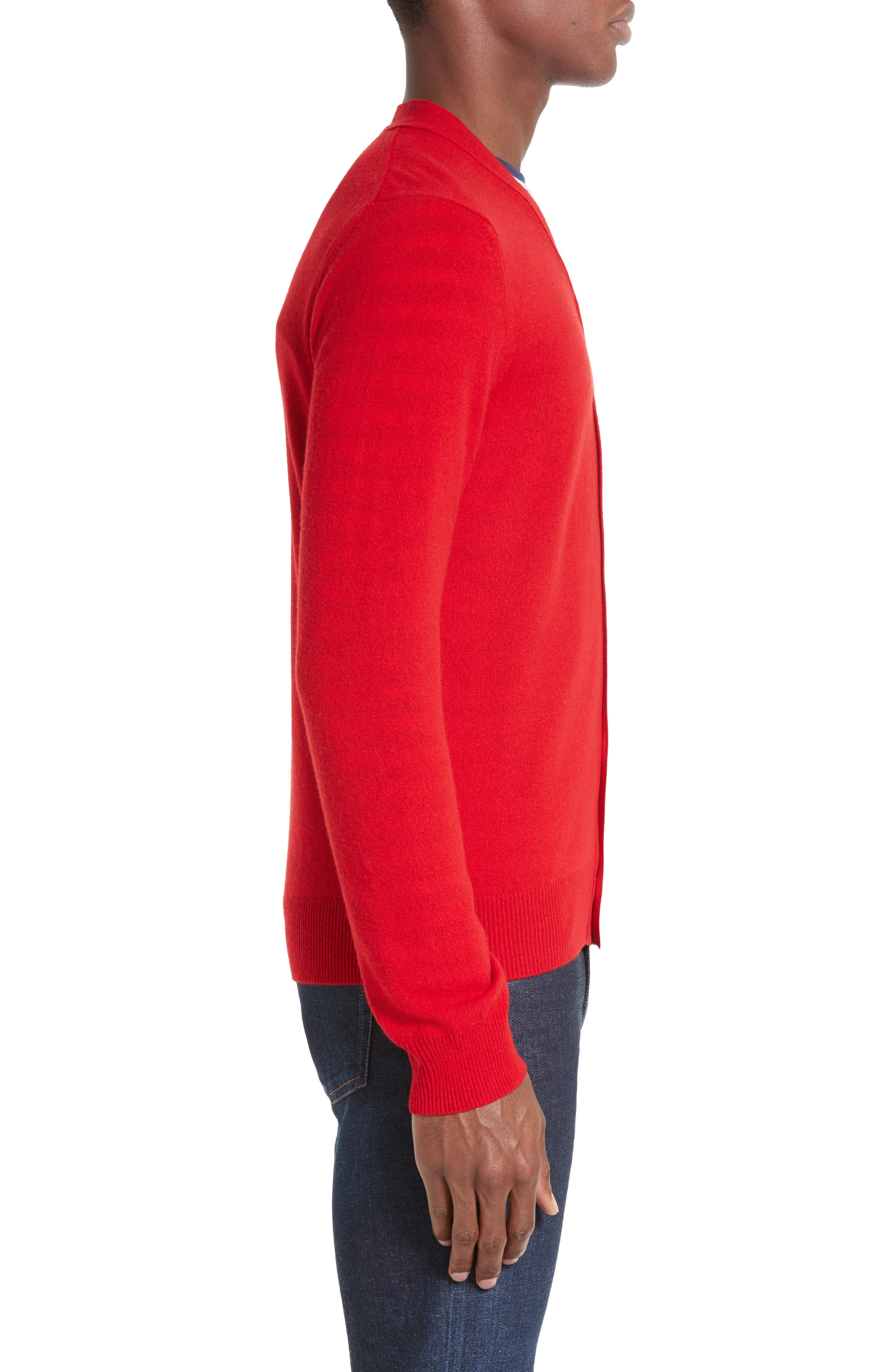 COMME DES GARÇONS PLAY, Wool Cardigan, Alternate thumbnail 3, color, RED