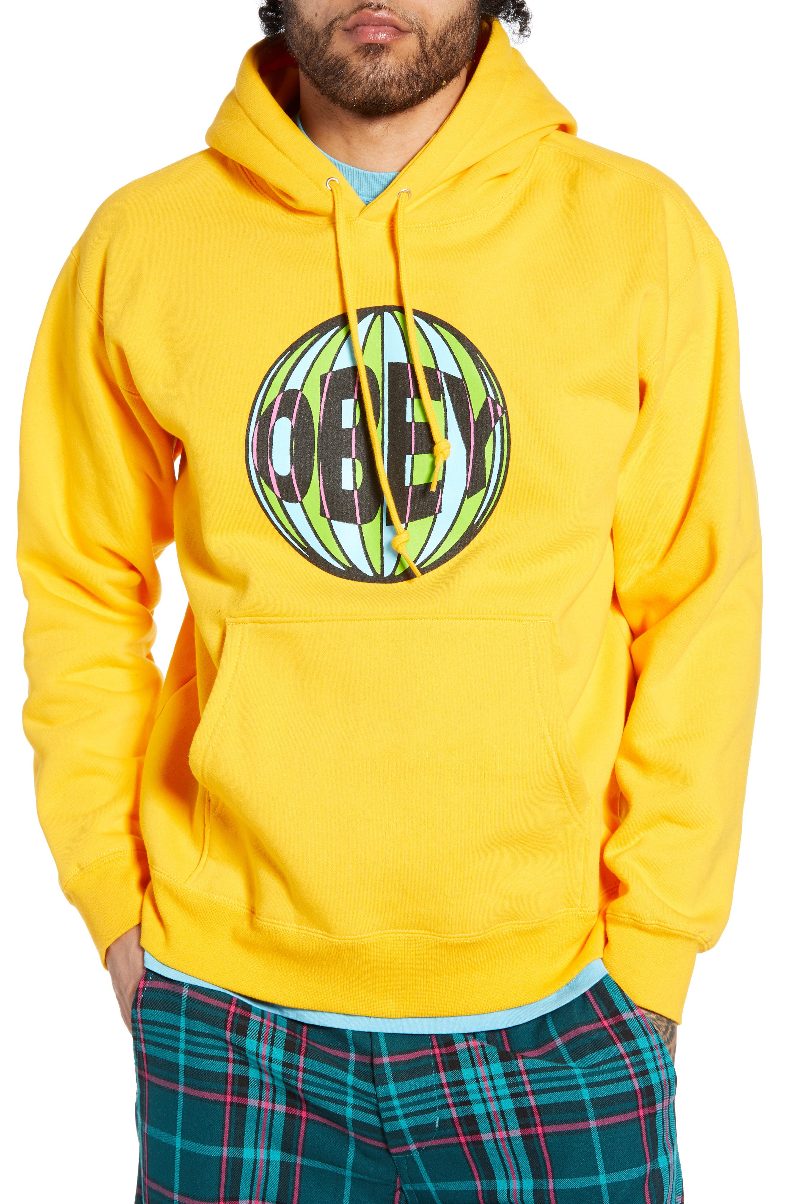 OBEY Ball Hooded Sweatshirt, Main, color, GOLD