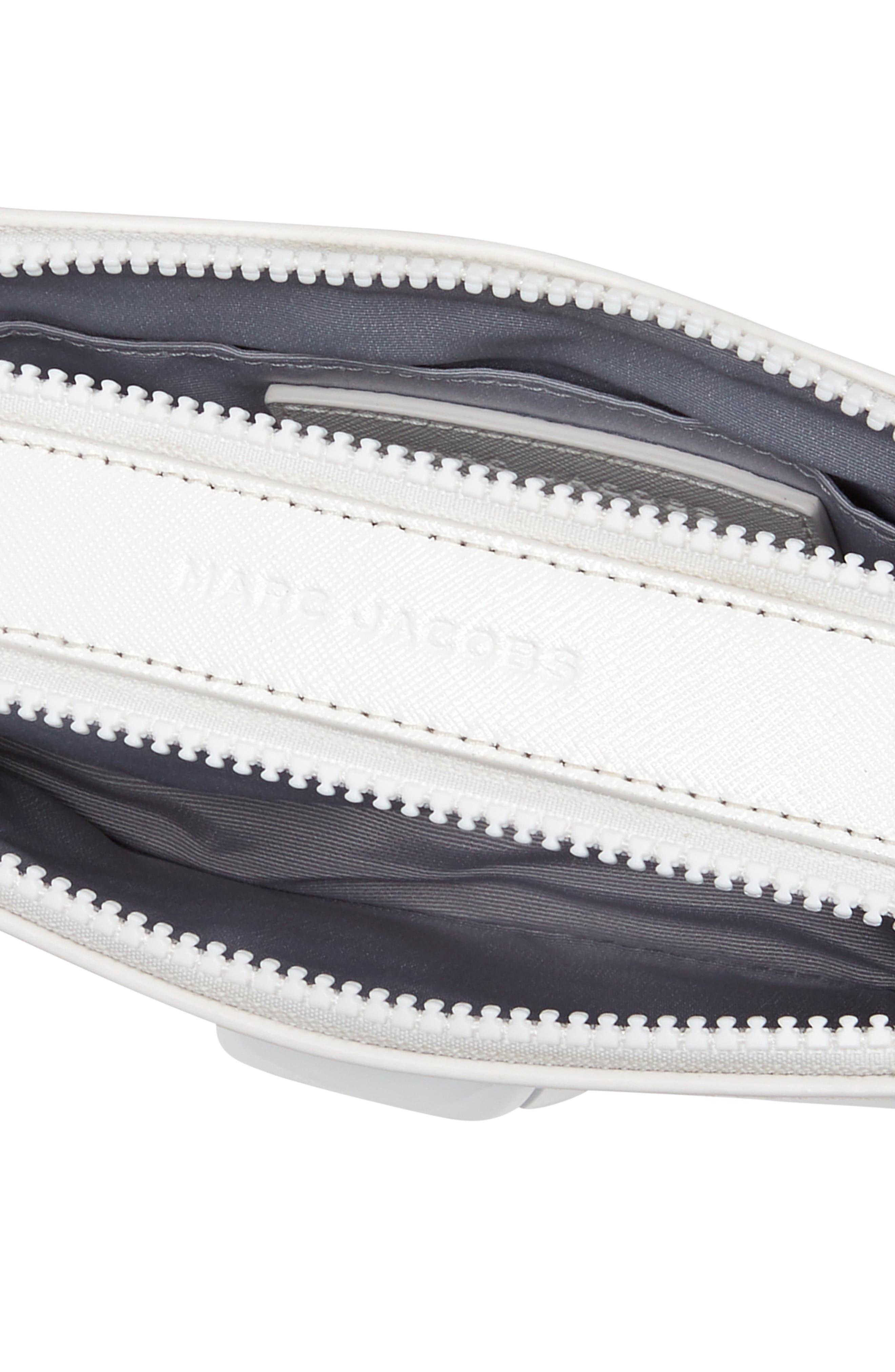 MARC JACOBS, Snapshot Leather Crossbody Bag, Alternate thumbnail 3, color, MOON WHITE