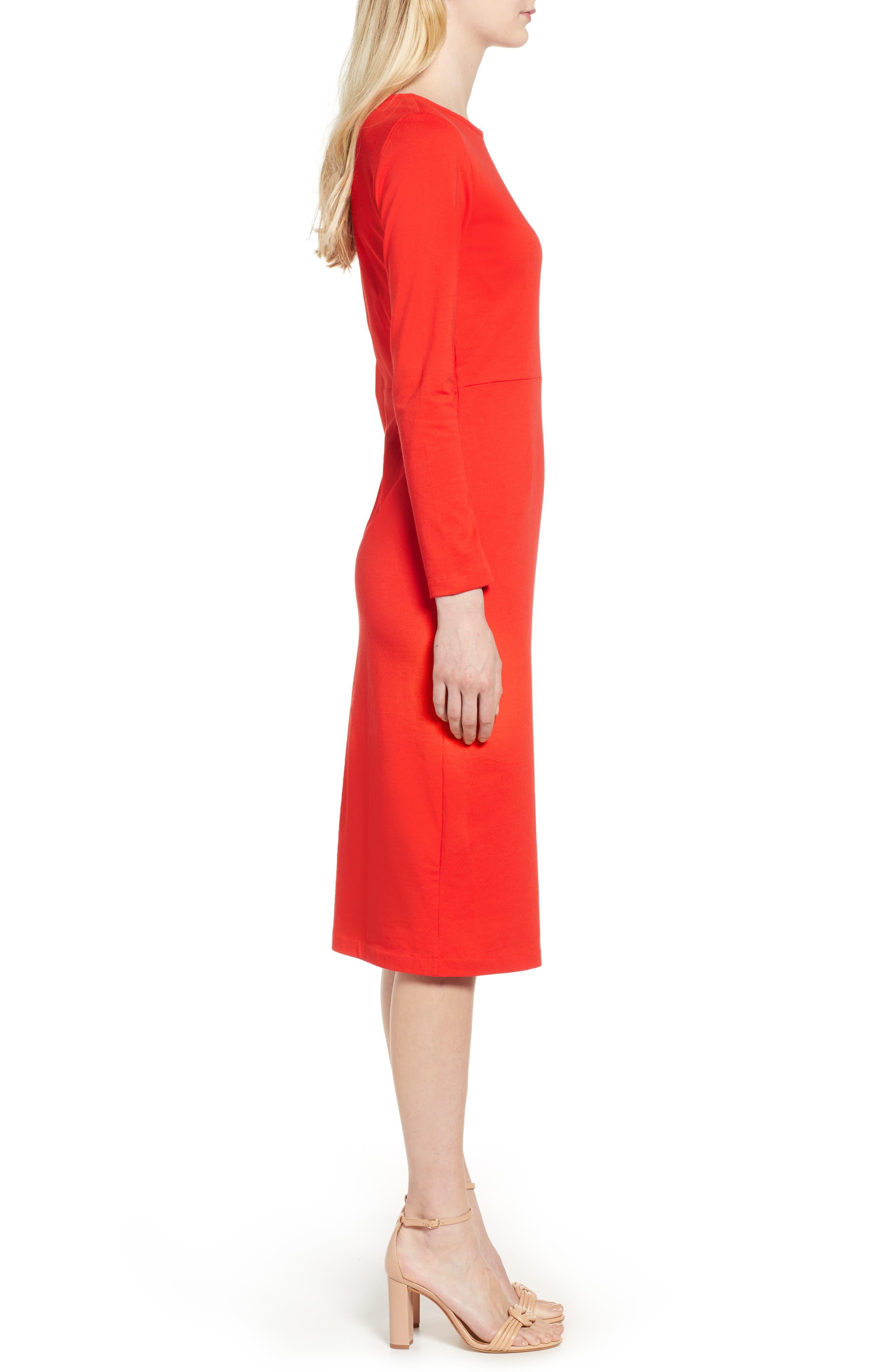 J.CREW, Knit Sheath Dress, Alternate thumbnail 5, color, BRIGHT CERISE