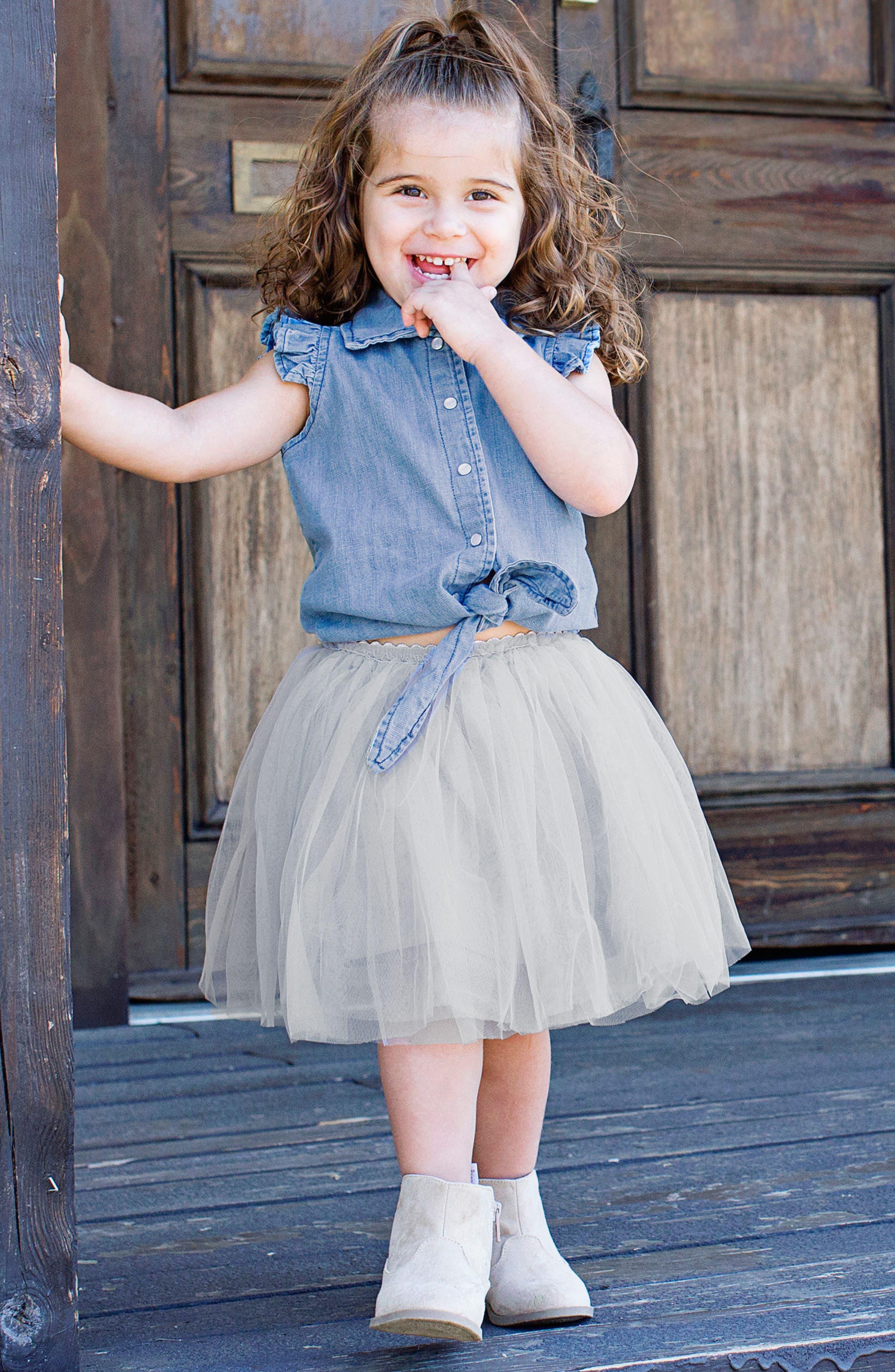 RUFFLEBUTTS, Chambray Tie Top & Tulle Skirt Set, Alternate thumbnail 2, color, GRAY