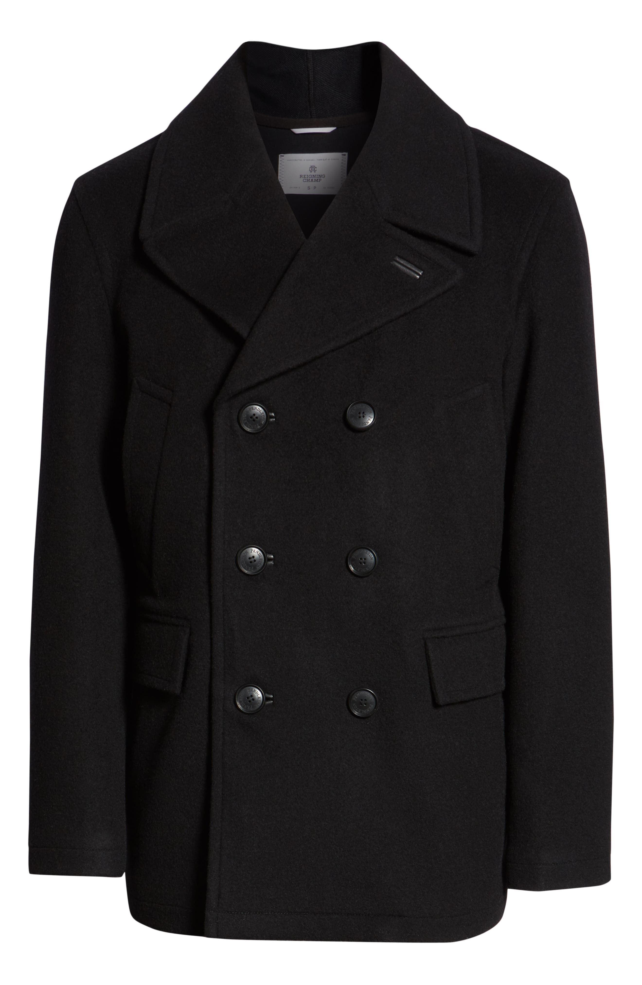 PENDLETON, Maritime Wool Blend Peacoat, Alternate thumbnail 6, color, BLACK