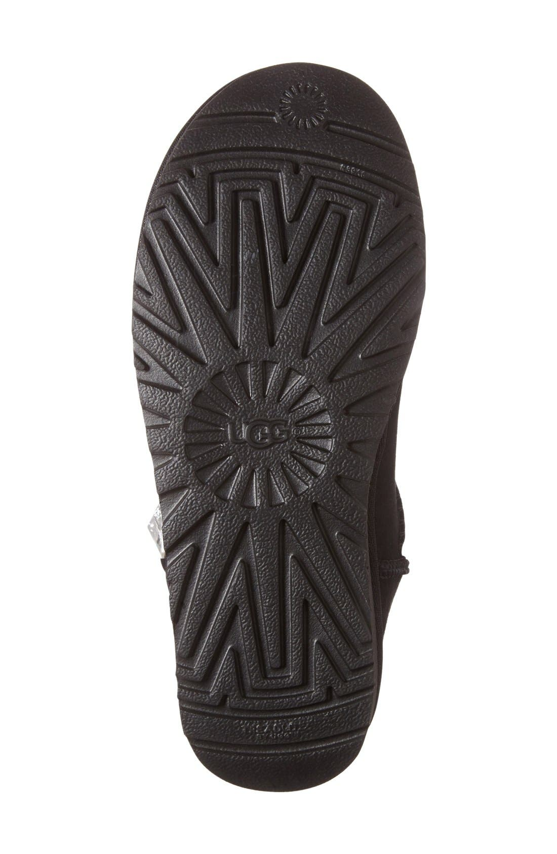 UGG<SUP>®</SUP>, Mini Bailey Button Bling Boot, Alternate thumbnail 4, color, BLACK SUEDE