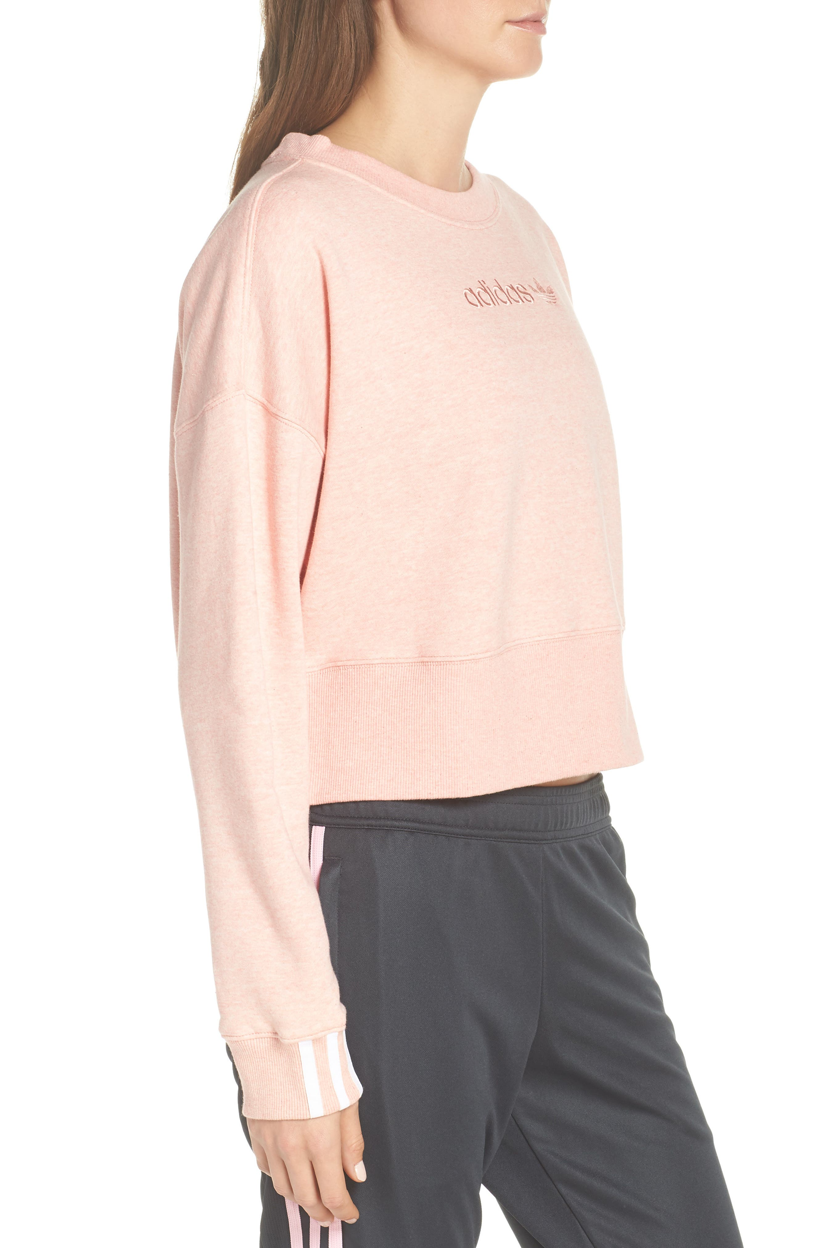 ADIDAS ORIGINALS, adidas Coeeze Crop Sweatshirt, Alternate thumbnail 4, color, 650