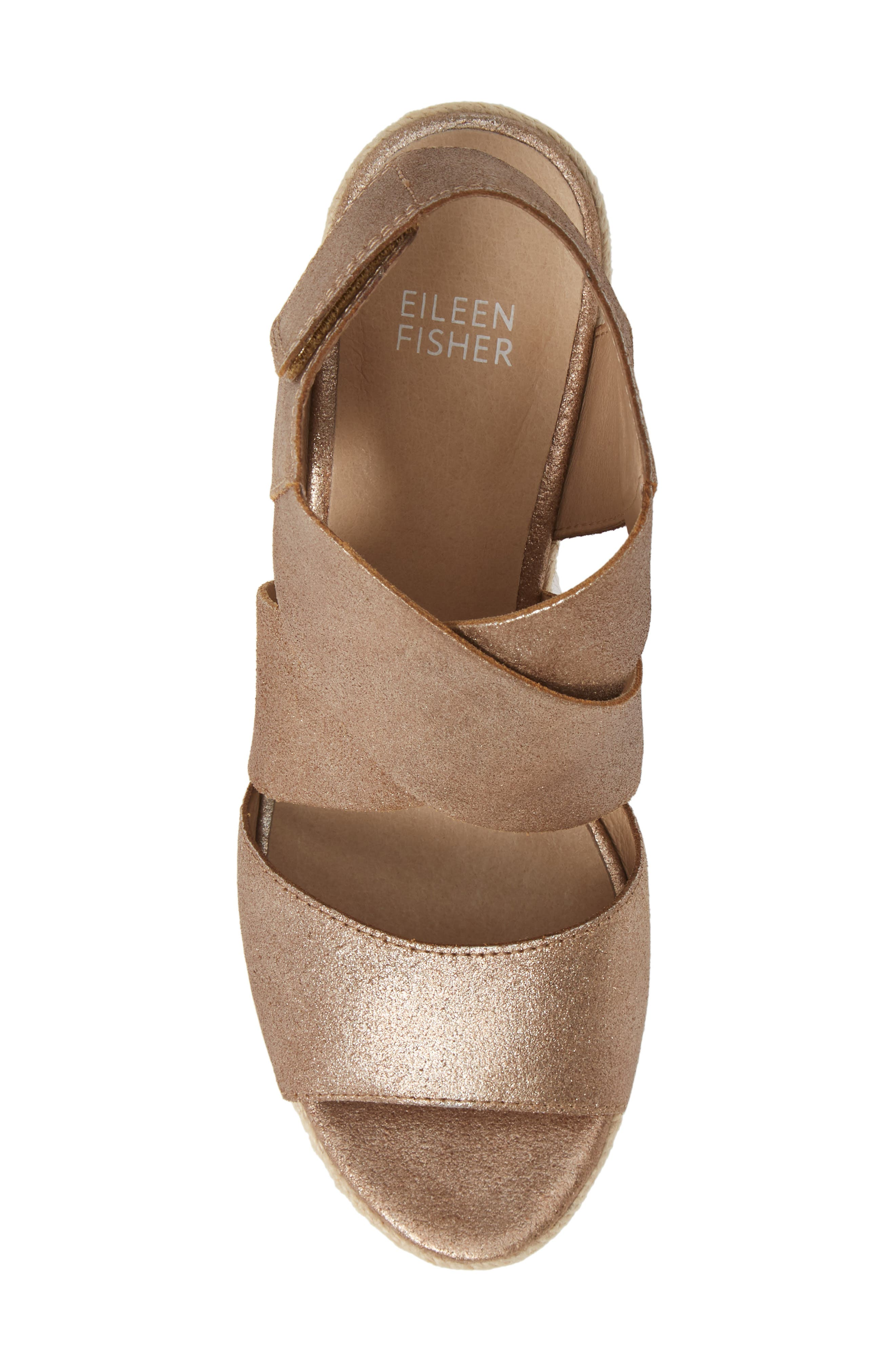 EILEEN FISHER, 'Willow' Espadrille Wedge Sandal, Alternate thumbnail 5, color, BRONZE/ BRONZE LEATHER